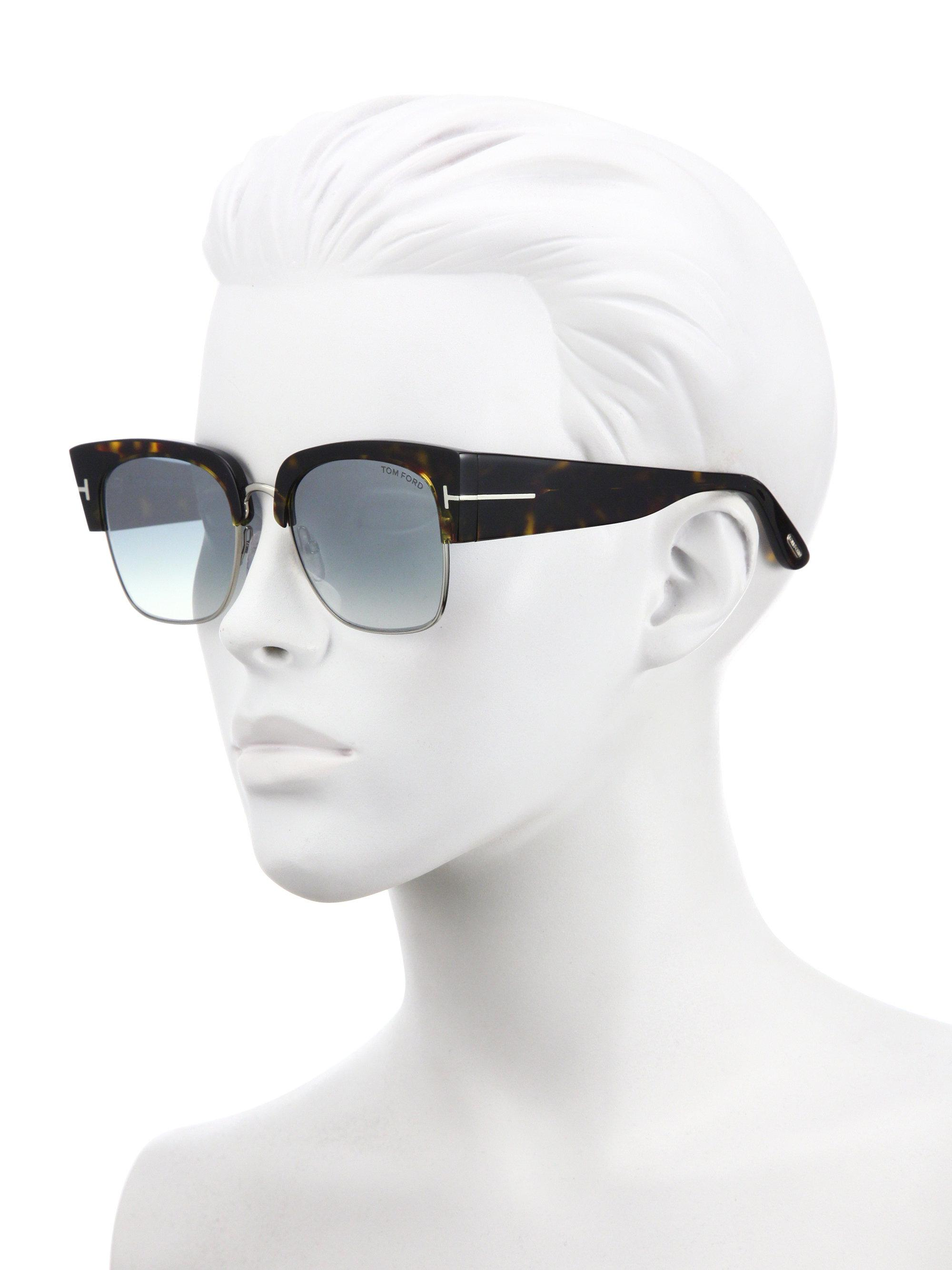 003ffea041 Tom Ford - Women s Dakota 55mm Soft Square Sunglasses - Dark Havana Blue -  Lyst. View fullscreen