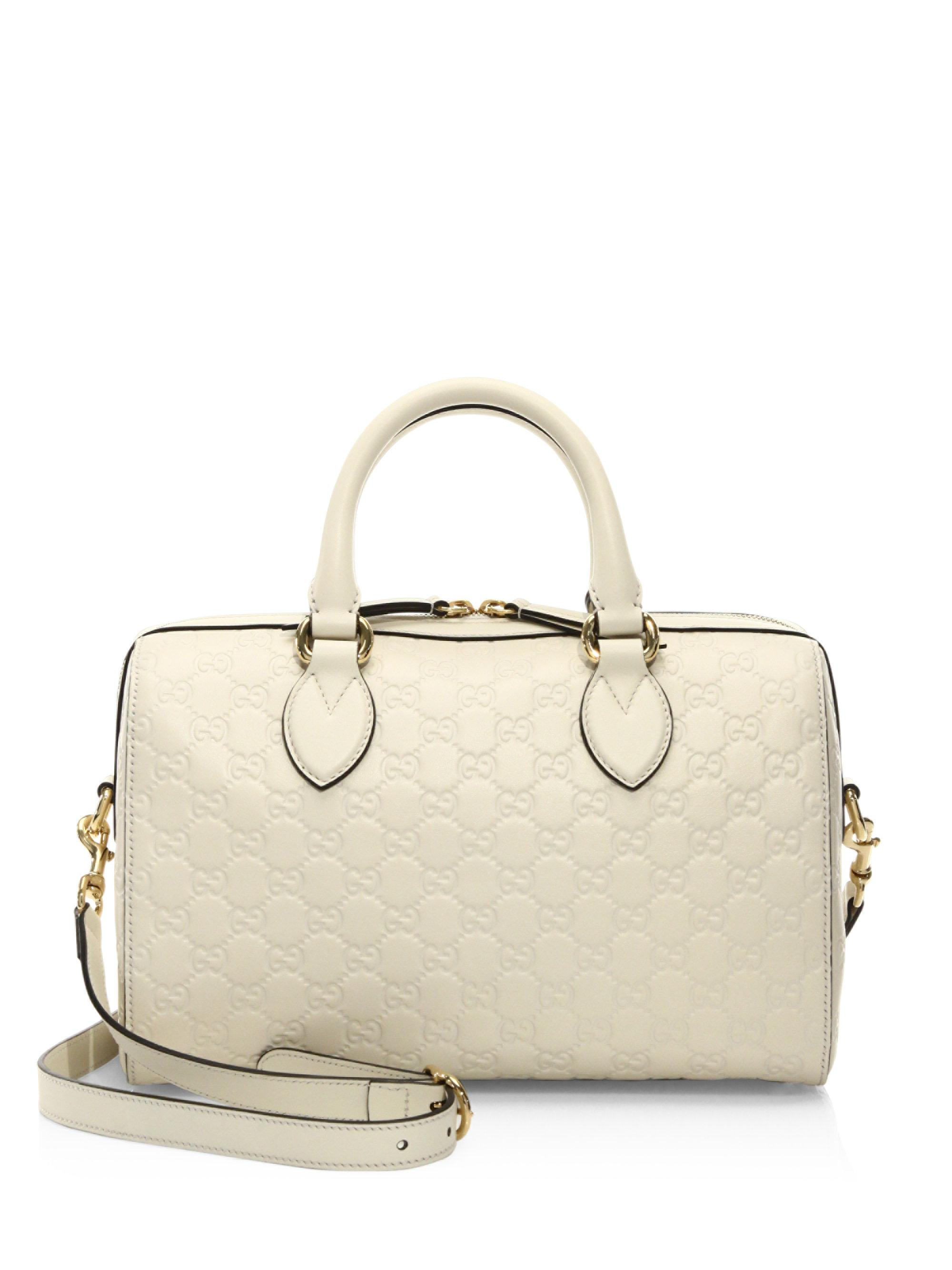 Lyst - Gucci Medium Soft Signature Leather Boston Bag in White 33353992c72c2