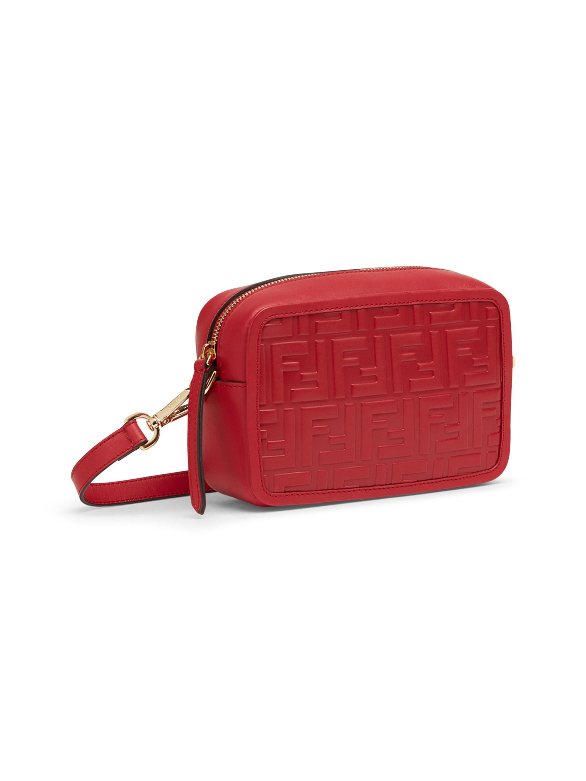 ea962b5a104 Fendi - Red Mini Ff Leather Camera Case - Lyst. View fullscreen