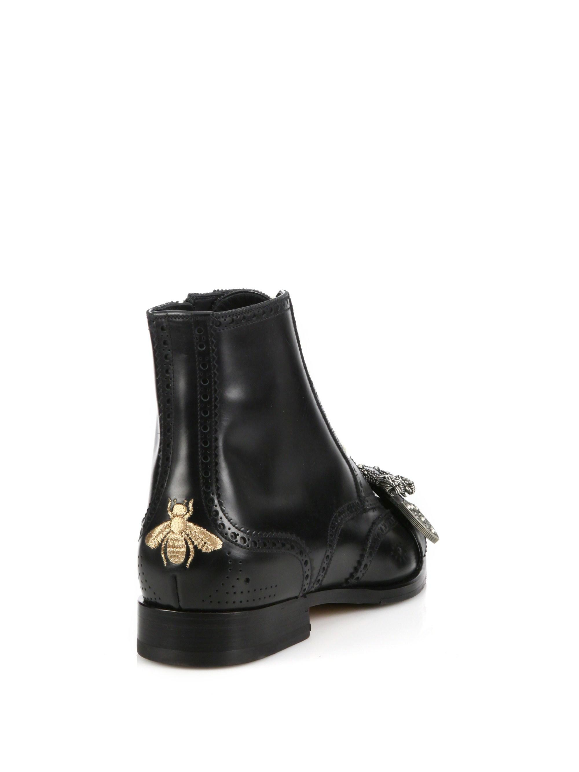 902780f08c1 Gucci - Black Iowa Queercore Leather Ankle Boots - Lyst. View fullscreen