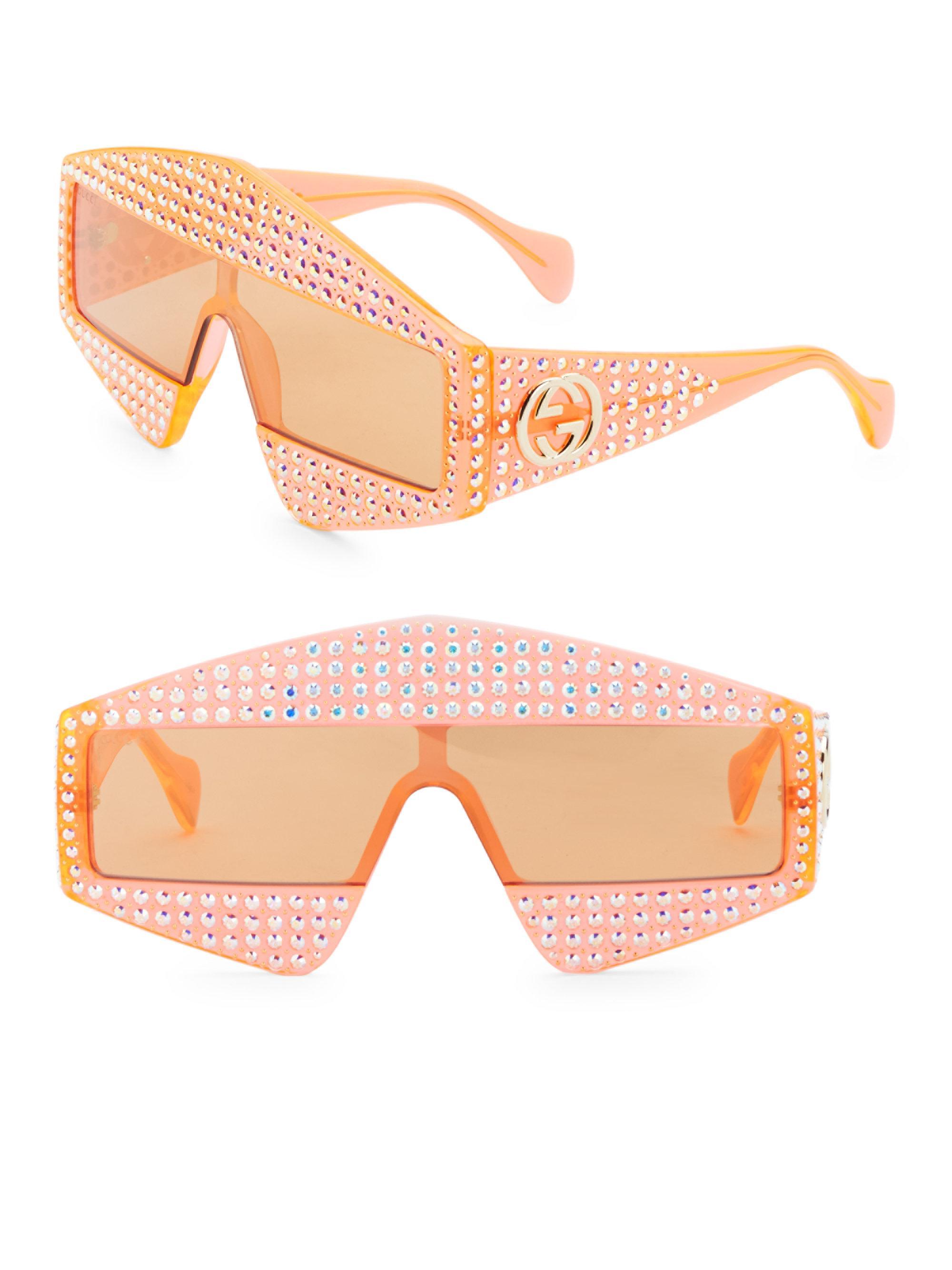 04bd4e971b4bd Gucci Women s Fashion Show Orange   Crystal Mask Sunglasses 99mm ...