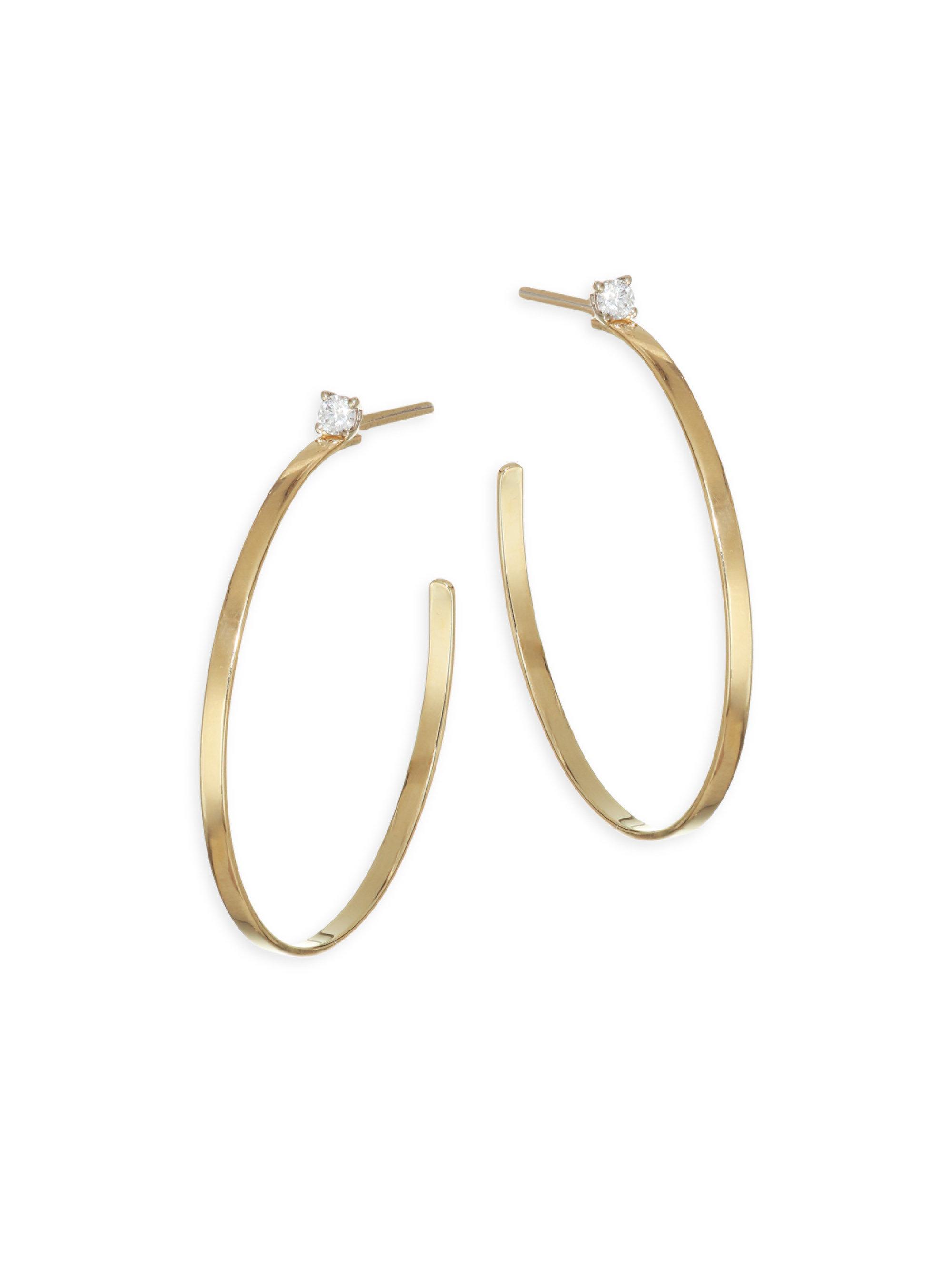 Lana Jewelry Women S Metallic Sunrise Diamond Post Hoop Earrings