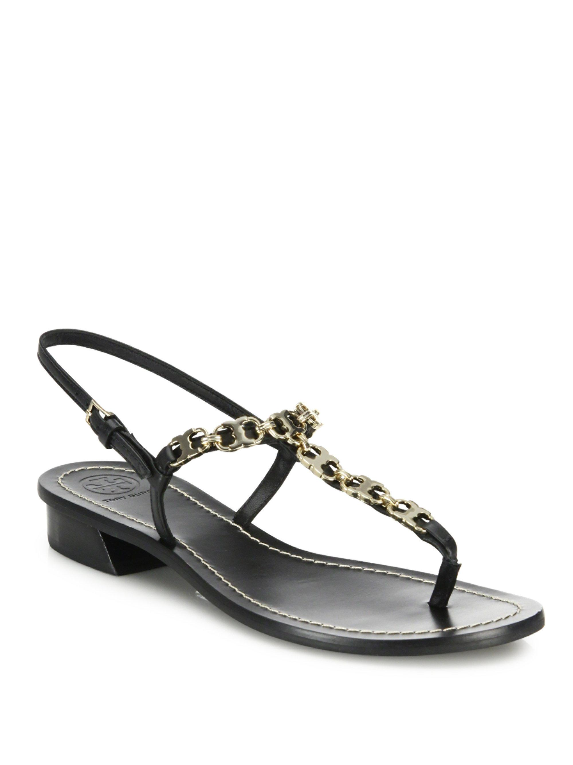 Tory Burch Leather Chain-Link Sandals for sale the cheapest sT5r8xD