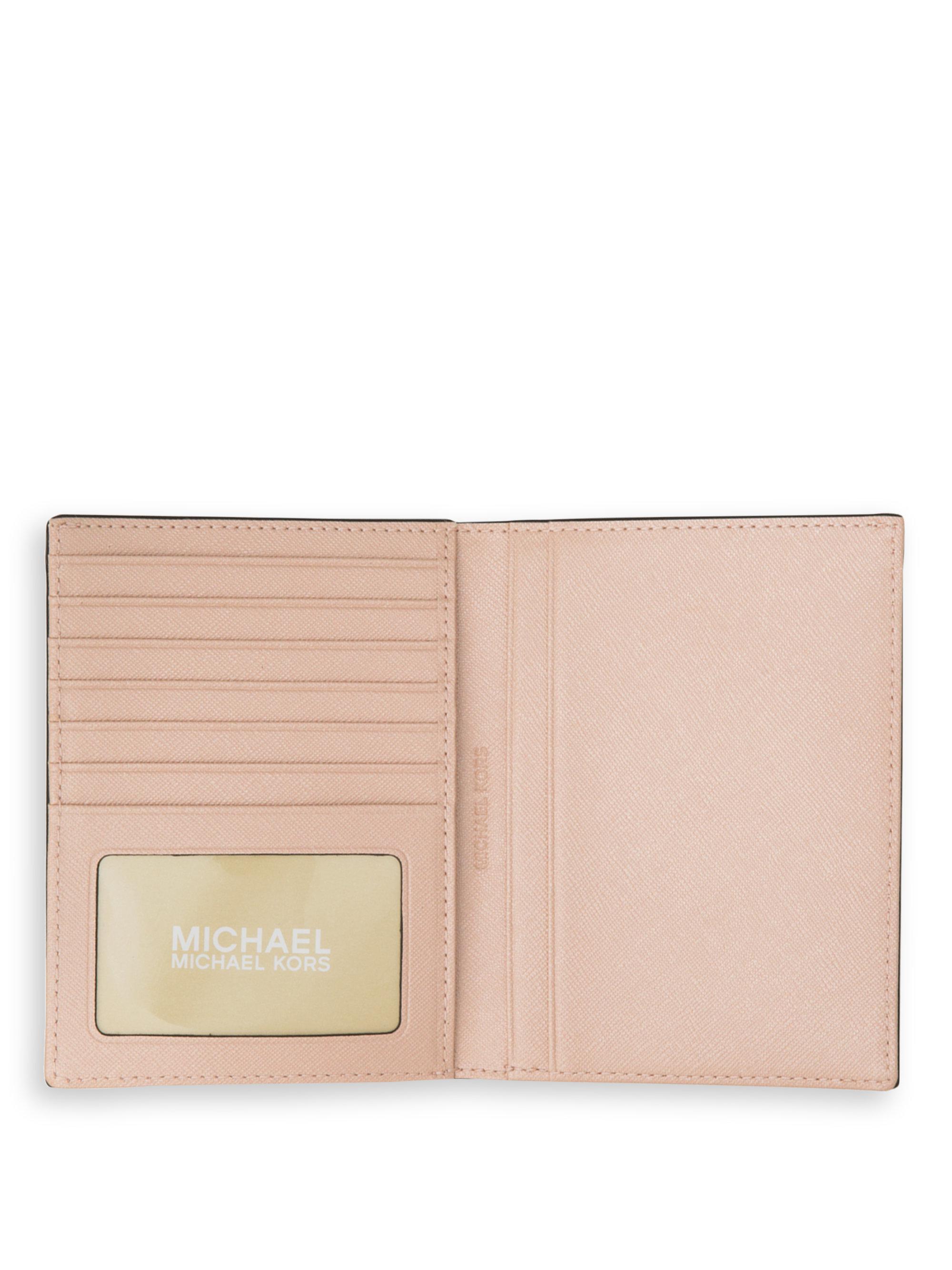 2d2c3c684f1 ... Lyst - Michael Michael Kors Leather Passport Holder in Pink ...