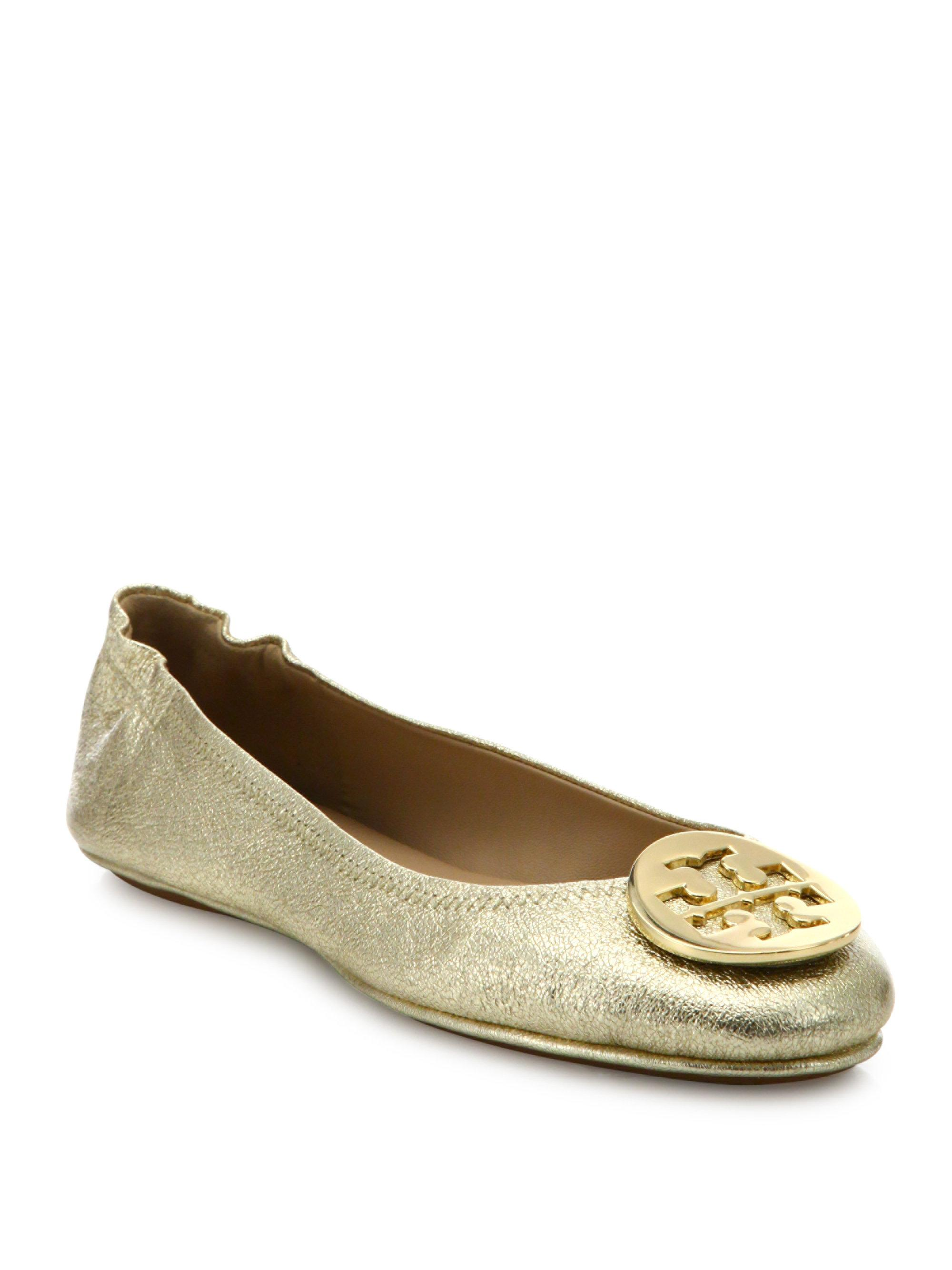 0894da7a07f0 ... inexpensive lyst tory burch minnie travel metallic leather ballet flats  in 83783 a0a4f ...