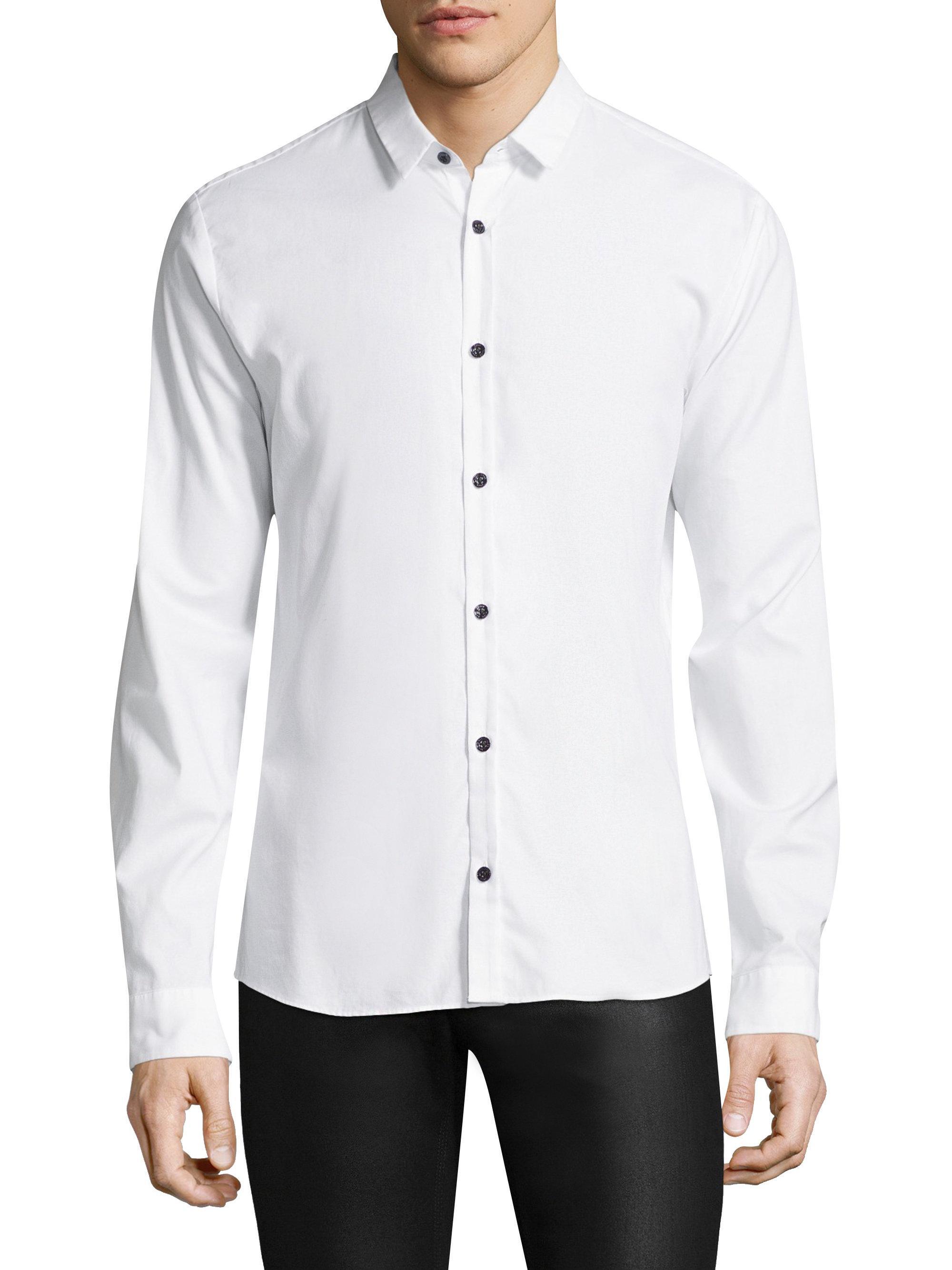 Hugo ero slim fit cotton button down shirt in white for for Slim fit white button down shirt