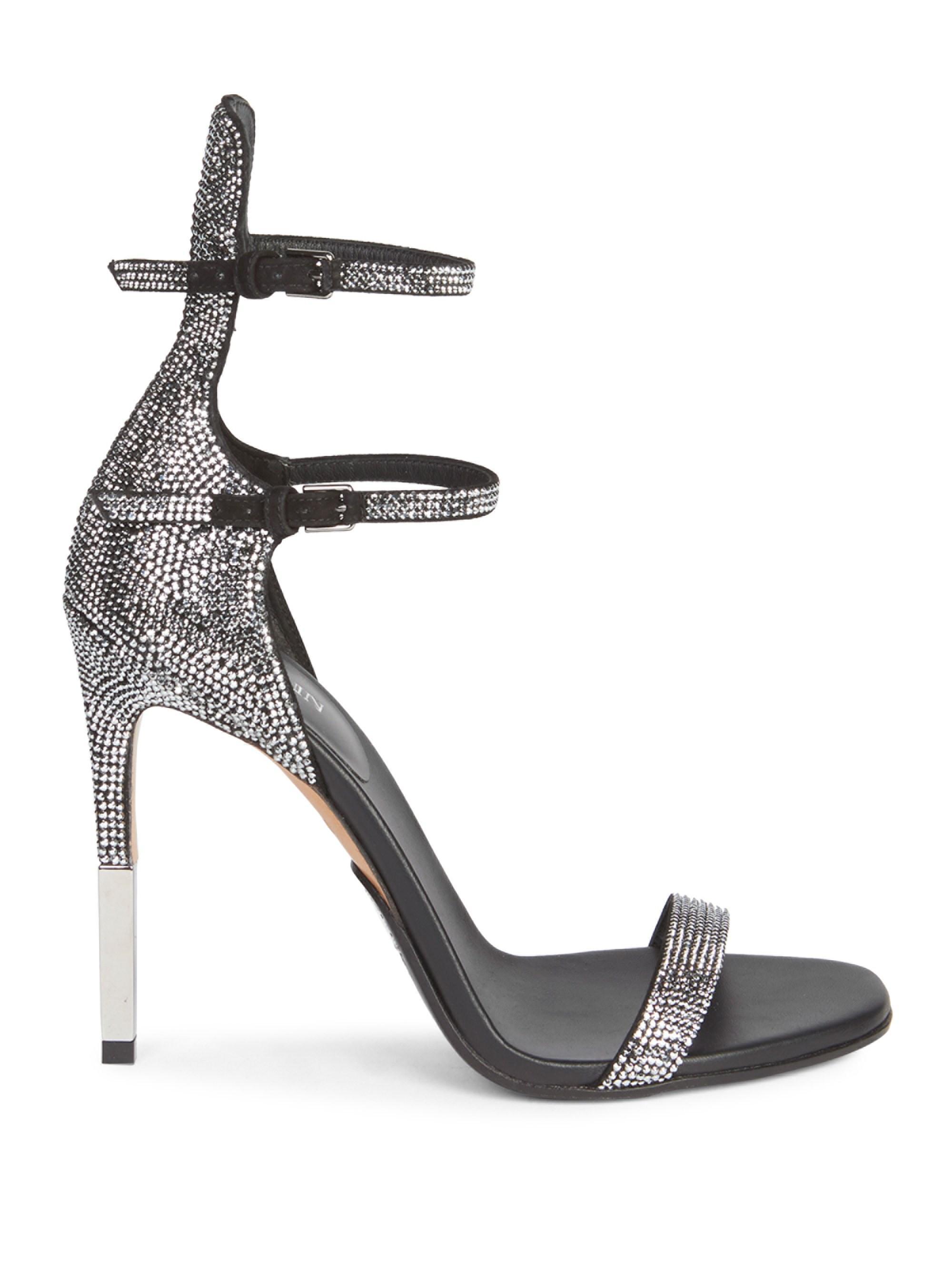 95e1f8da43177e Lyst - Balmain Elvira Strass Rhinestone Sandals in Black