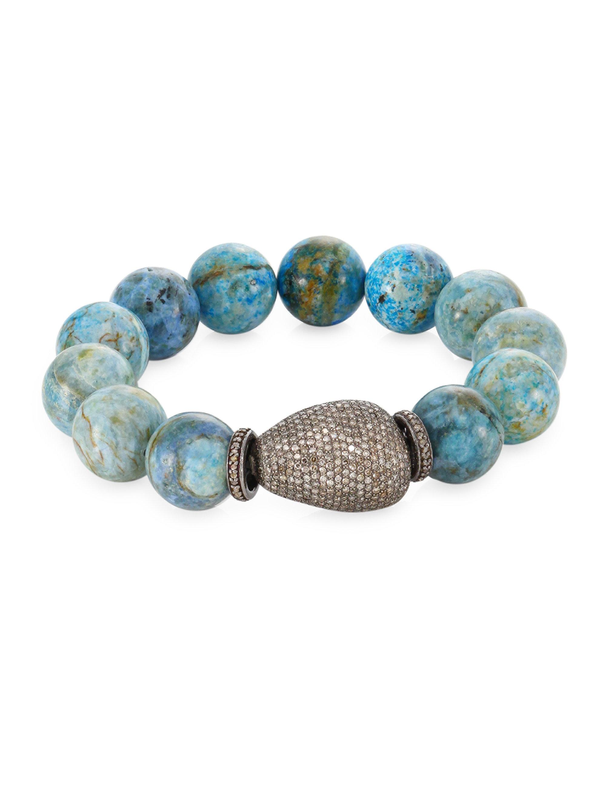Bavna Tapered Turquoise & Diamond Bangle 57Ejc8