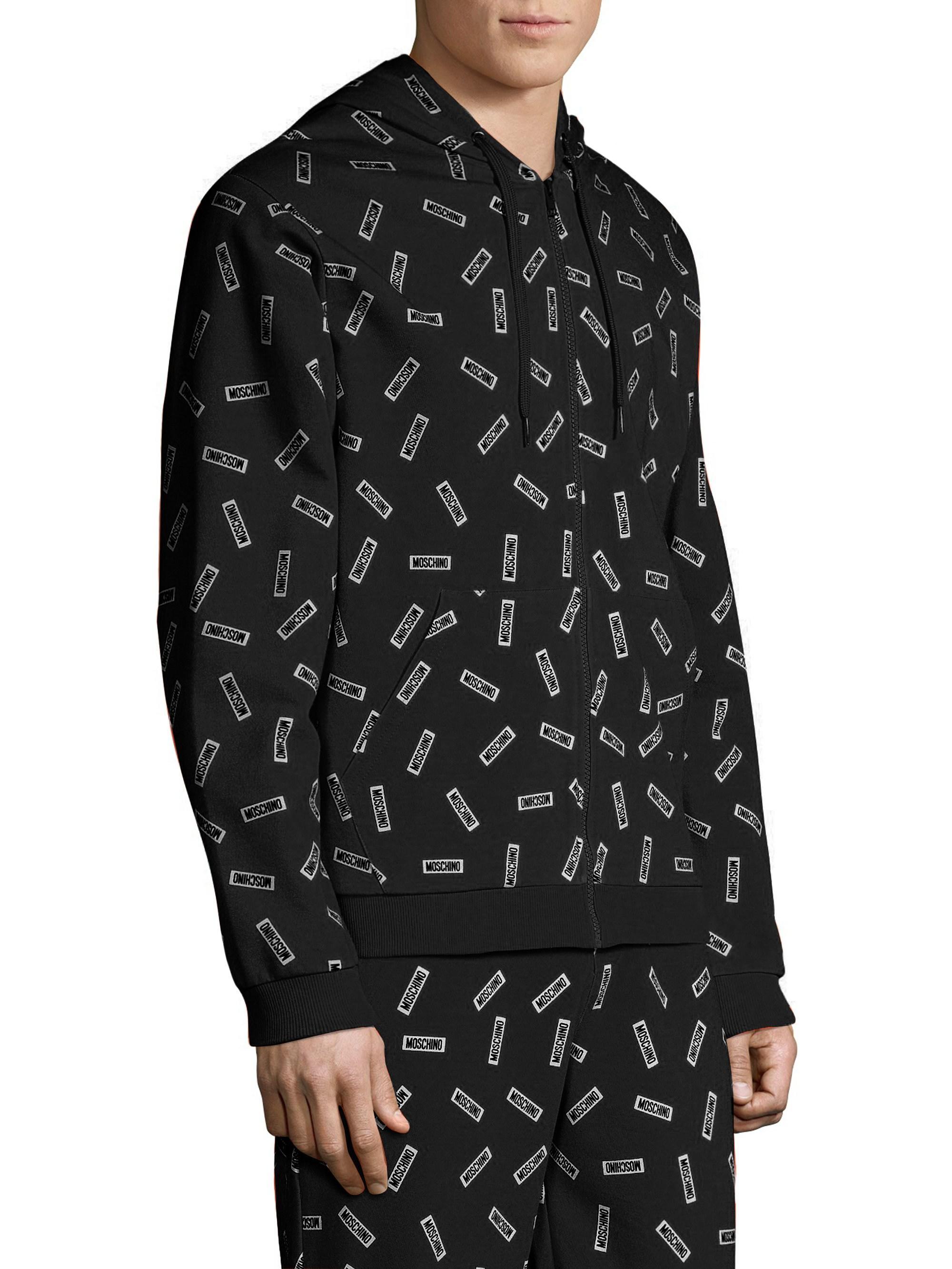 d13ca0cb Moschino Men's Allover Tag Cotton Hoodie - Orange Multi - Size Xl in Black  for Men - Lyst