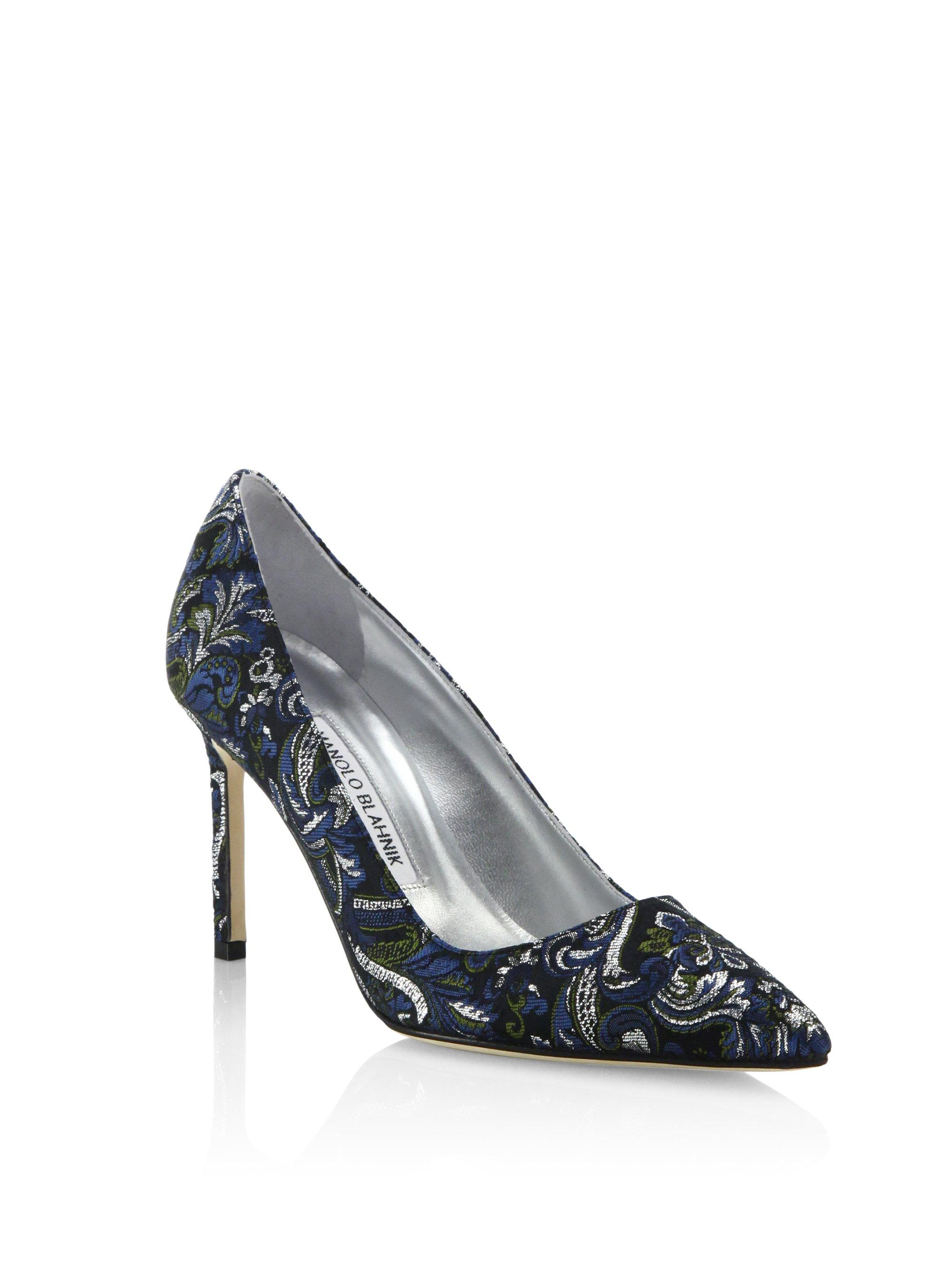 bddc4d9d Manolo Blahnik Bb Metallic Brocade Point Toe Pumps - Lyst