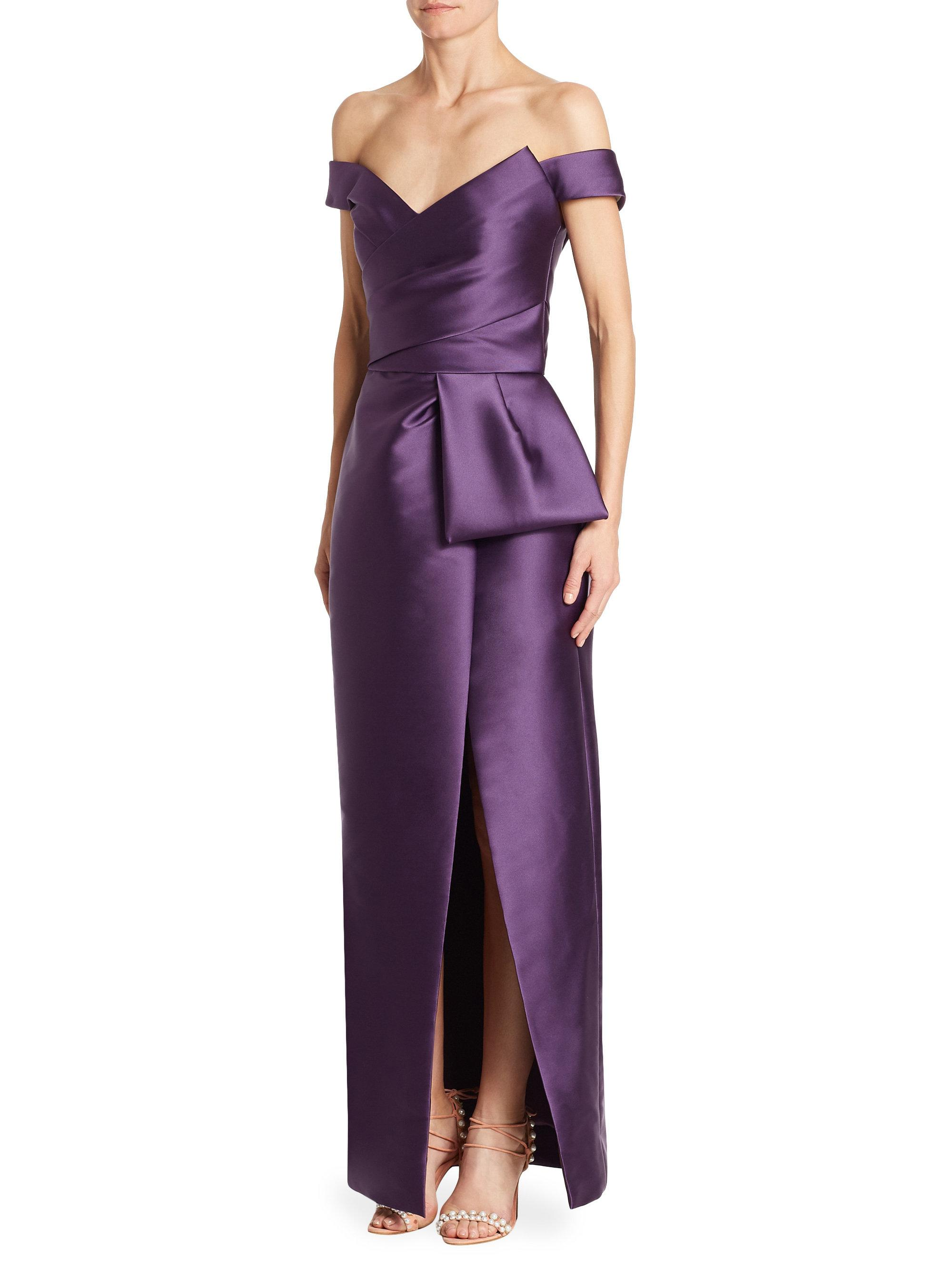Lyst - Monique Lhuillier Off-the-shoulder Tulip Gown in Purple