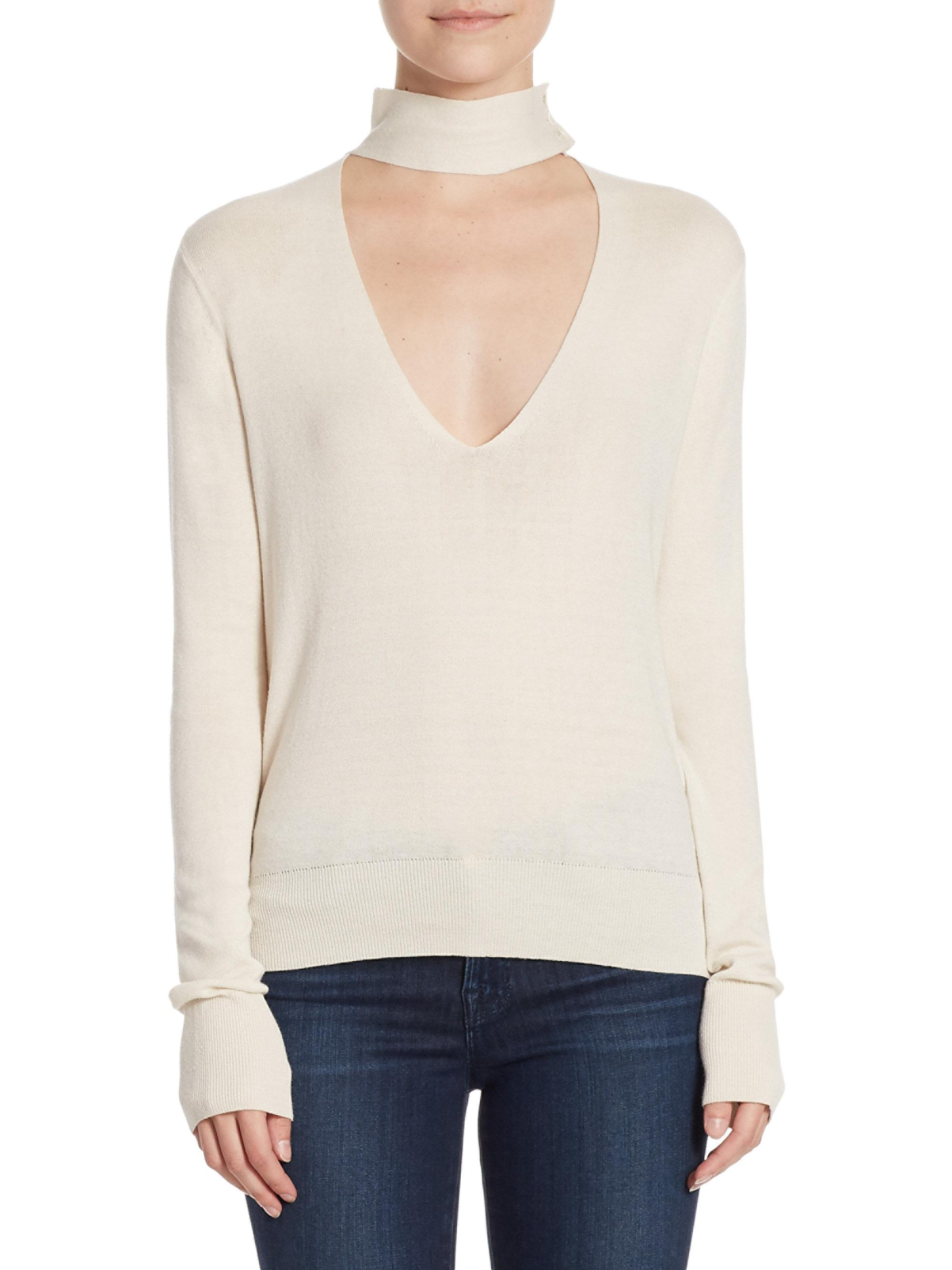 81a50ae838 Lyst - Theory Tie Neck Choker Top in White
