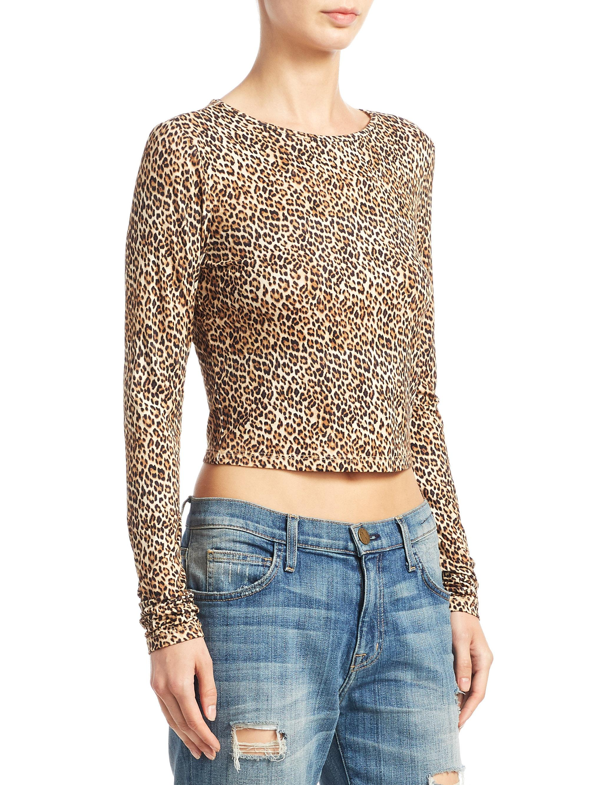 d2a29e8f085b Alice + Olivia Delaina Leopard Cropped Top in Brown - Lyst