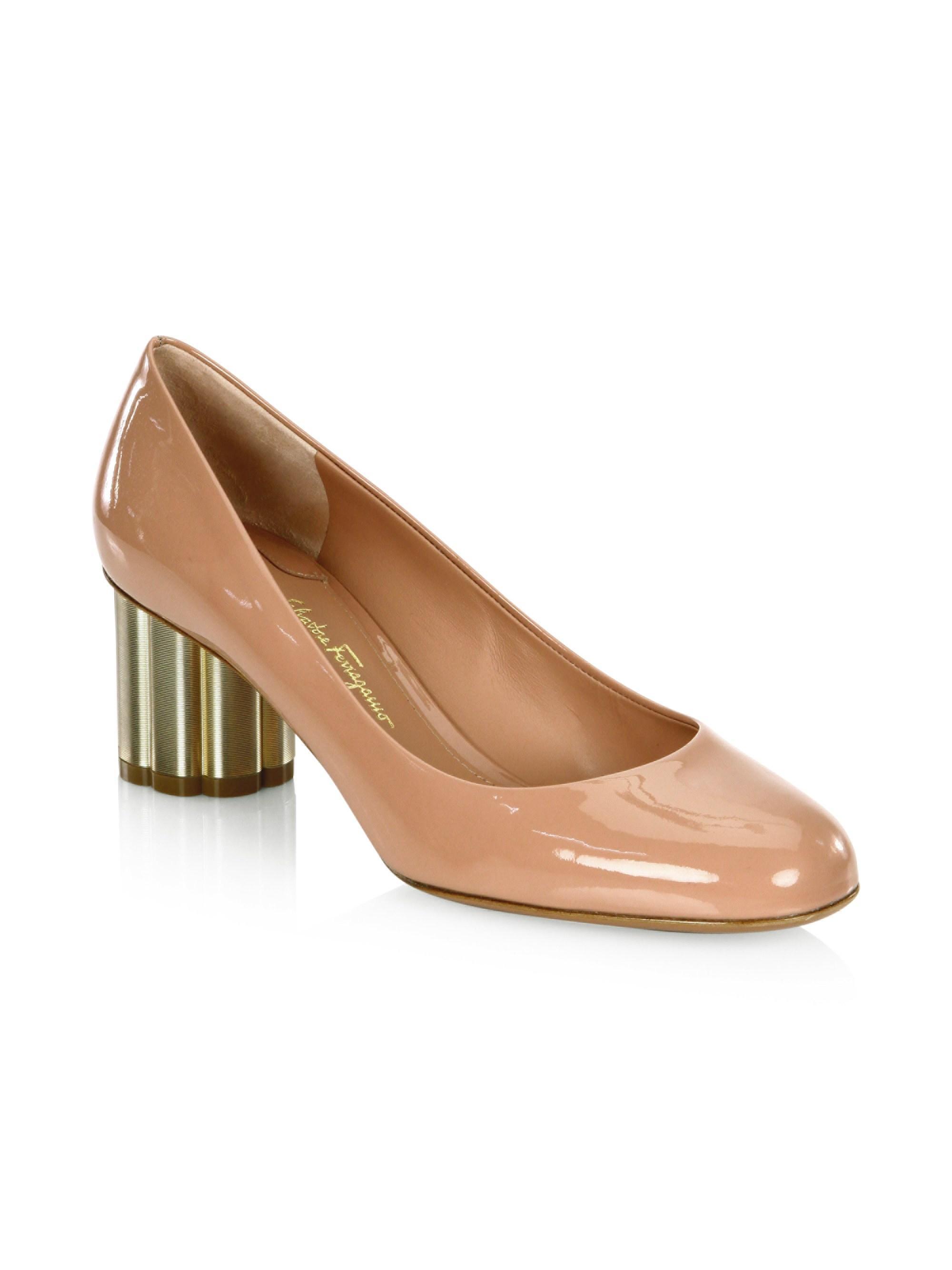 6b98c7ee3874 Ferragamo. Women s Lucca Flower-heel Patent-leather Pumps