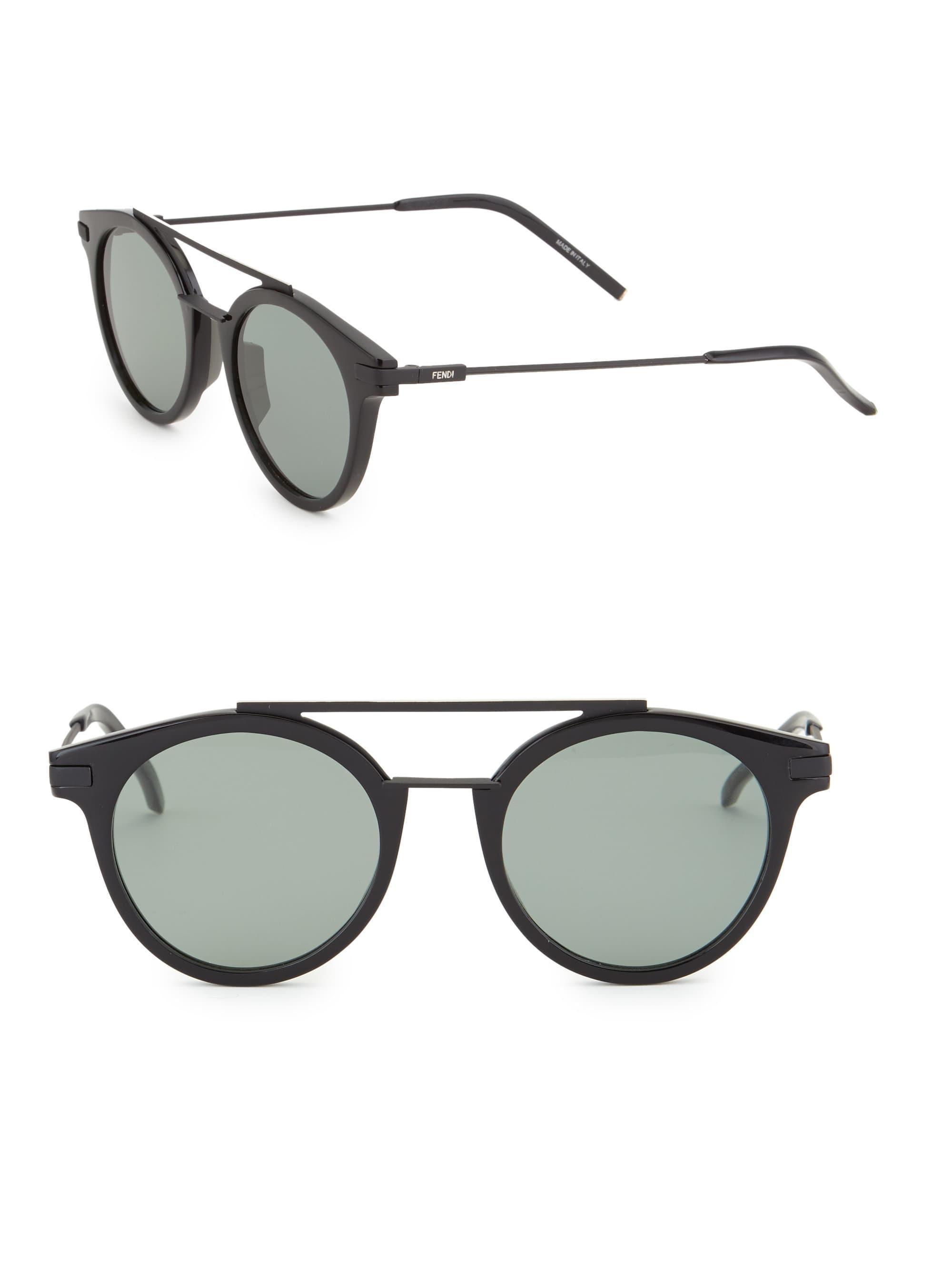 68c94fdf86a9 Fendi - Multicolor Women s 49mm Round Sunglasses - Brown - Lyst. View  fullscreen