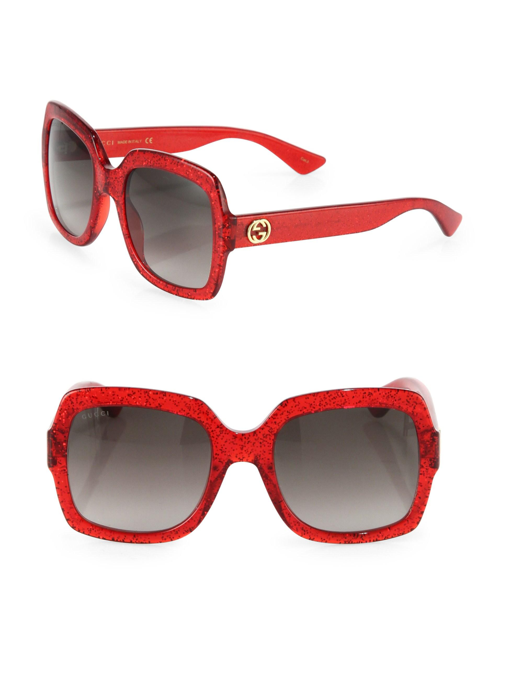 ae60222dcd4 Lyst - Gucci 54mm Oversized Glitter Square Sunglasses in Red