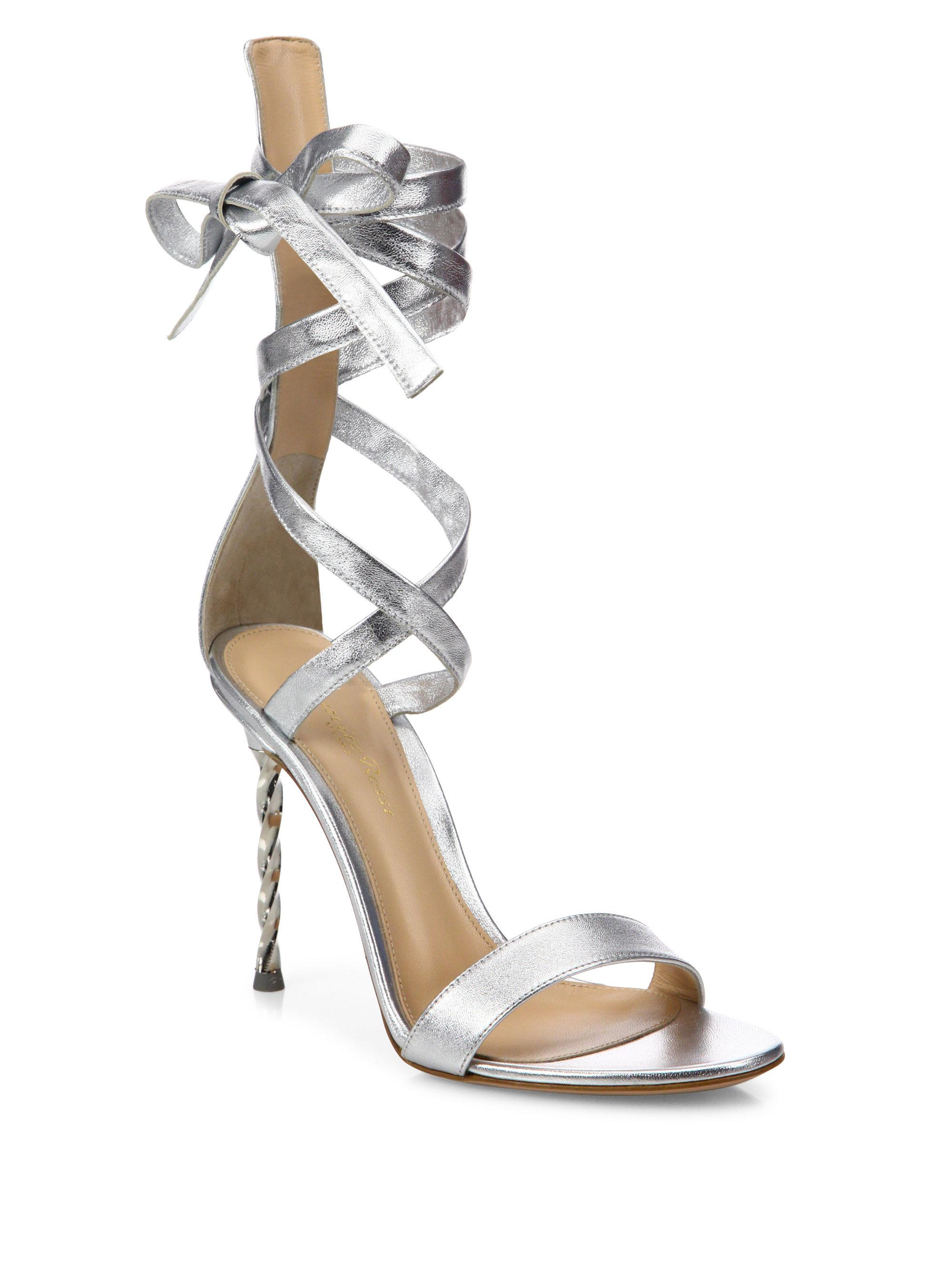 489f9fe9513 Lyst - Gianvito Rossi Folie Metallic Leather Ankle-wrap Sandals in ...