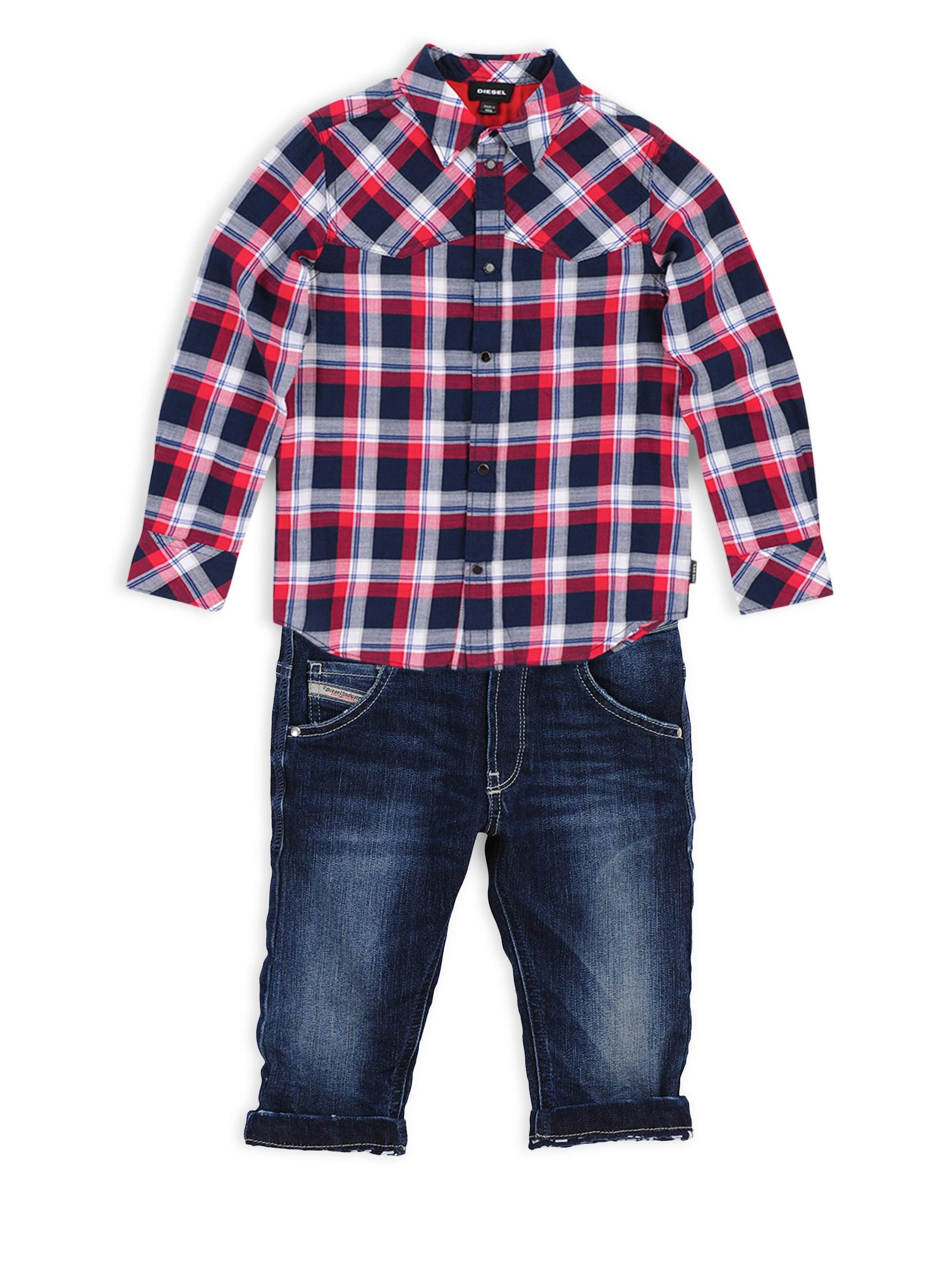 9c37570a DIESEL Baby Boy's Plaid Long-sleeve Shirt in Blue for Men - Lyst