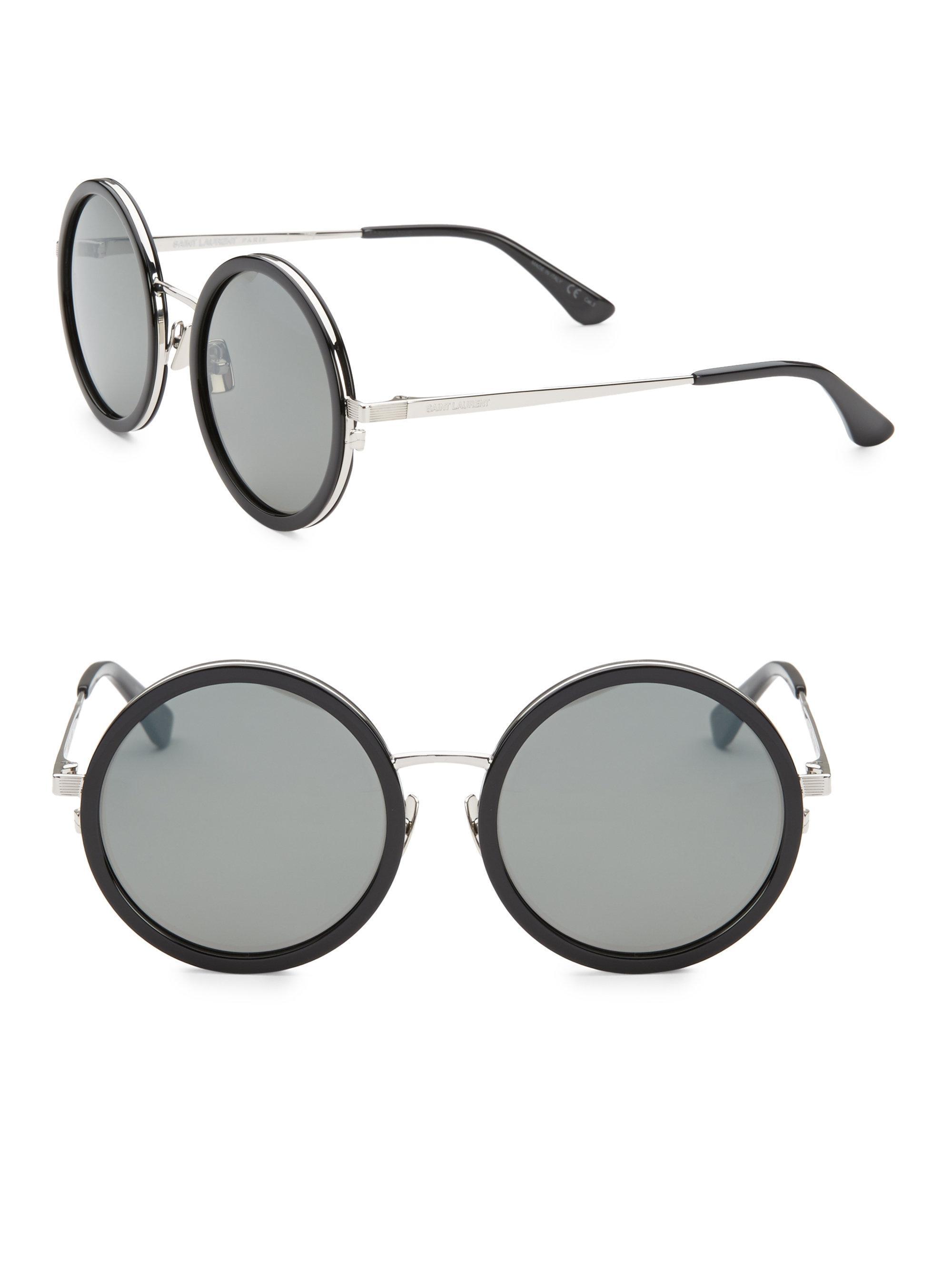 4c48d5c5c9 Saint Laurent 136 Zero 52mm Round Sunglasses in Black - Save 9% - Lyst