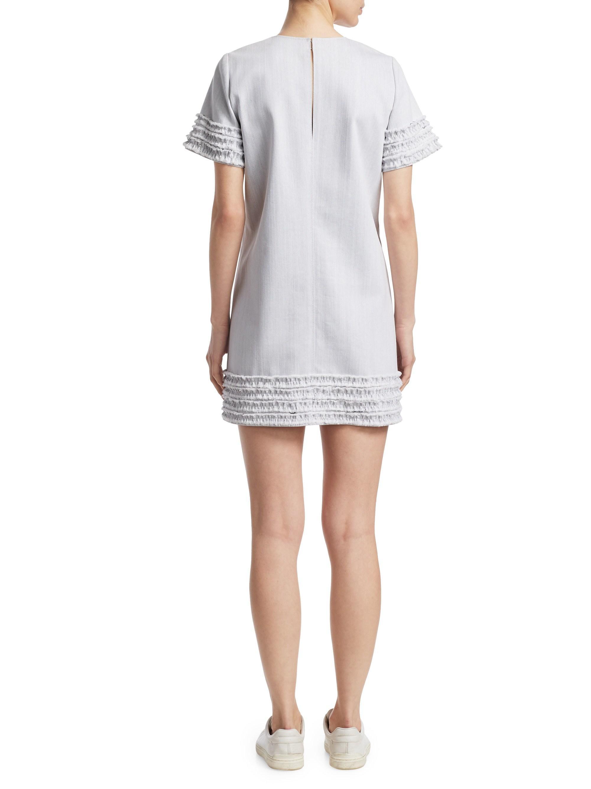858855d6e8 Cinq À Sept Ashton Denim Shift Dress in White - Lyst