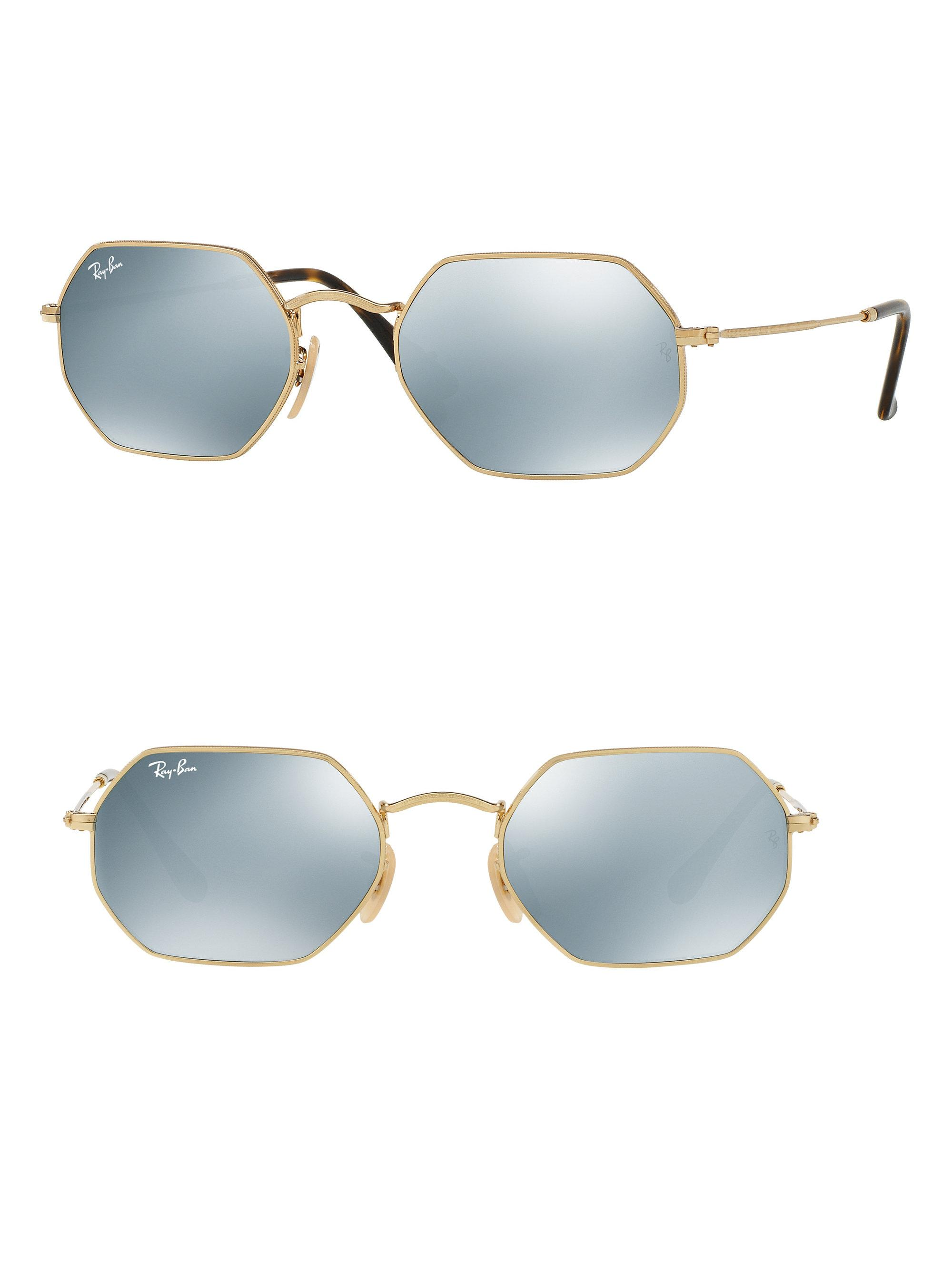 057d2f51cfd Ray-Ban Mirrored Hexagonal Metal Sunglasses in Blue for Men - Lyst