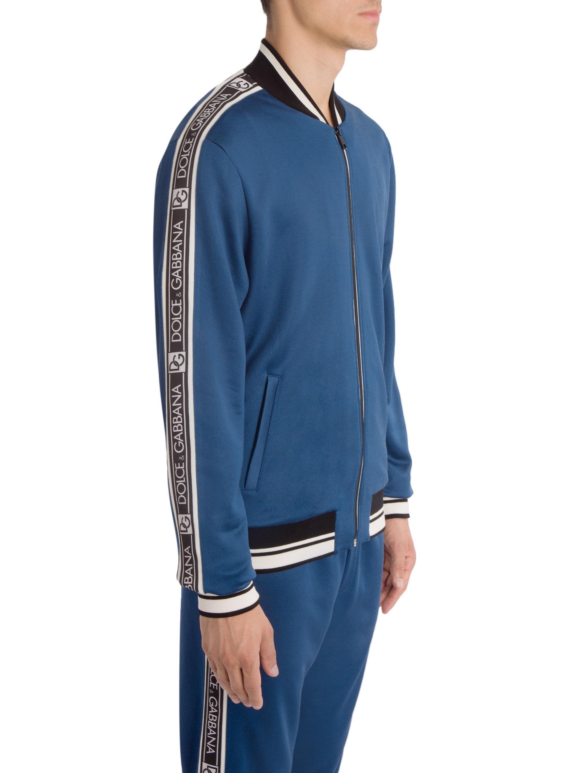 Lyst - Dolce   Gabbana Cotton Logo Trim Track Jacket in Blue for Men 69cbb79de07b