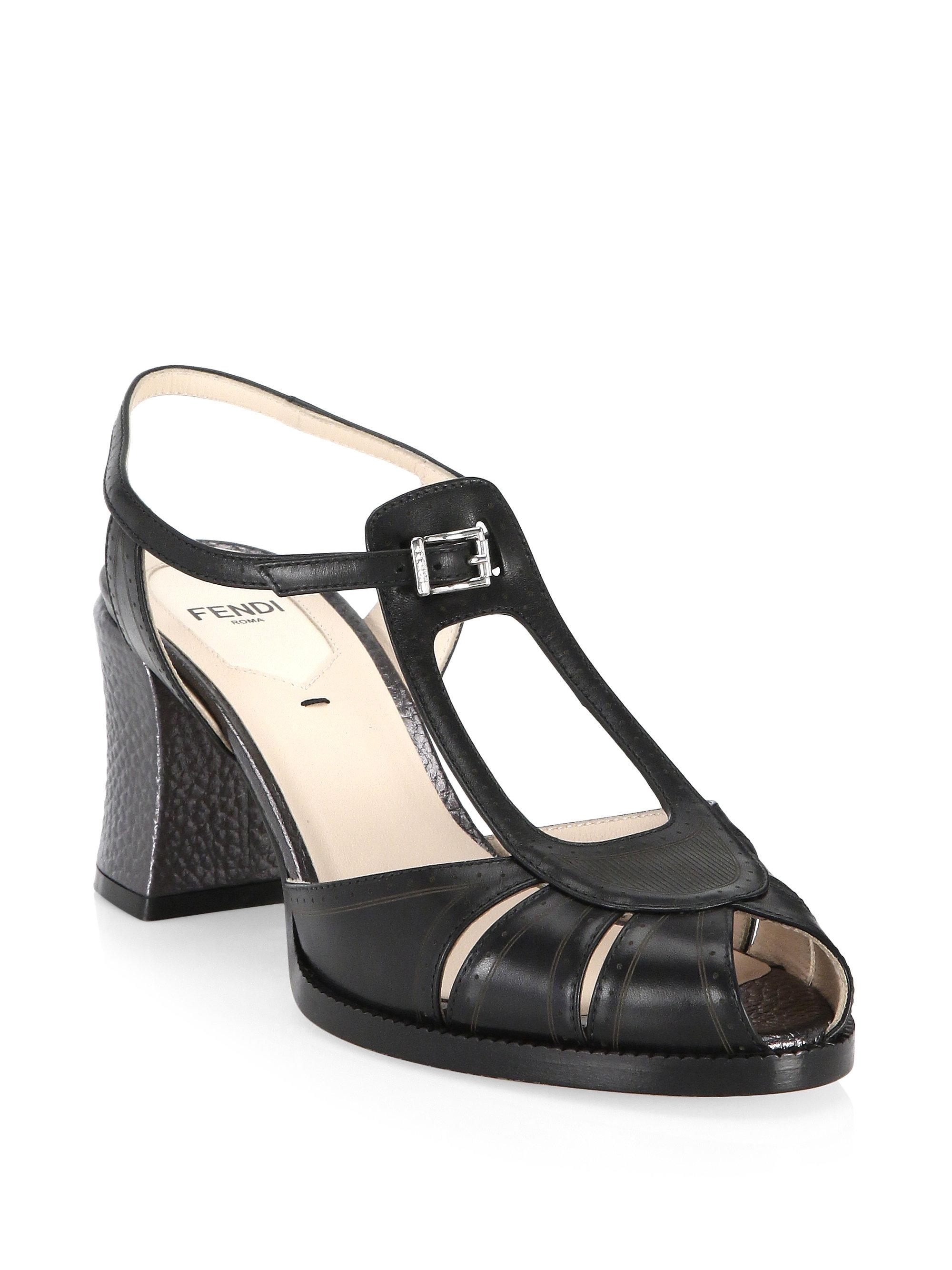 67b7ee99ae63 Lyst - Fendi Block Heel Leather Sandals in Black