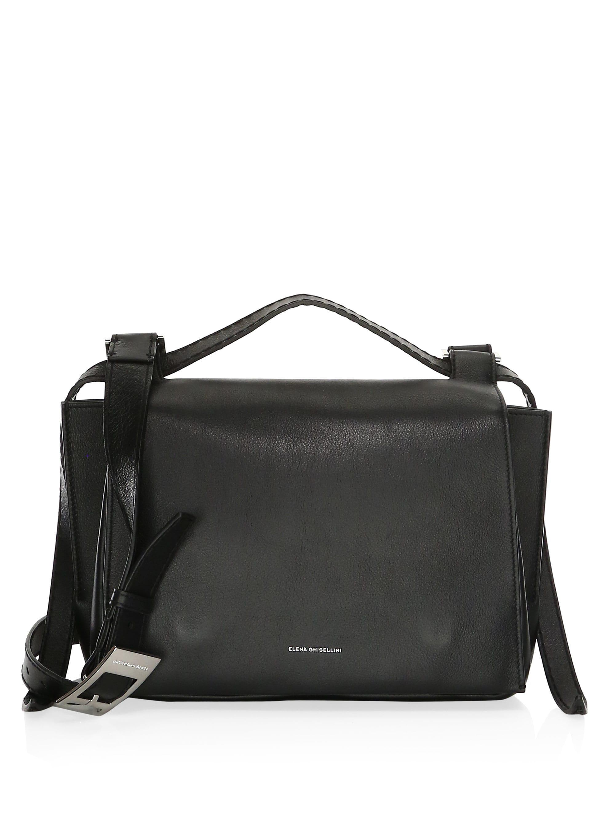 5cc91505690 Elena Ghisellini - Black Medium Leather Shoulder Flap Bag - Lyst. View  fullscreen
