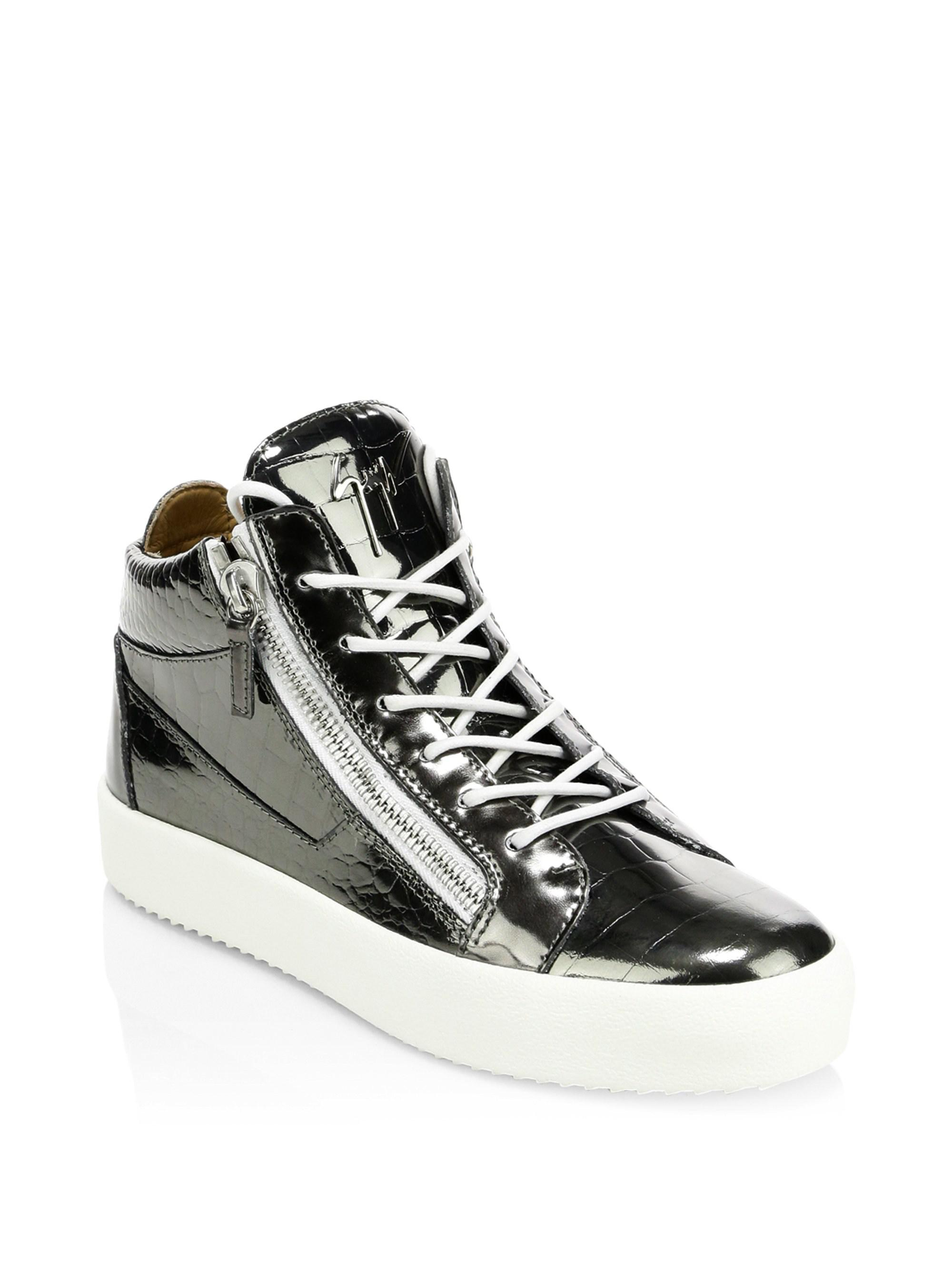1cbce42a2175 Giuseppe Zanotti Crocodile Embossed Leather Sneakers in Black for ...