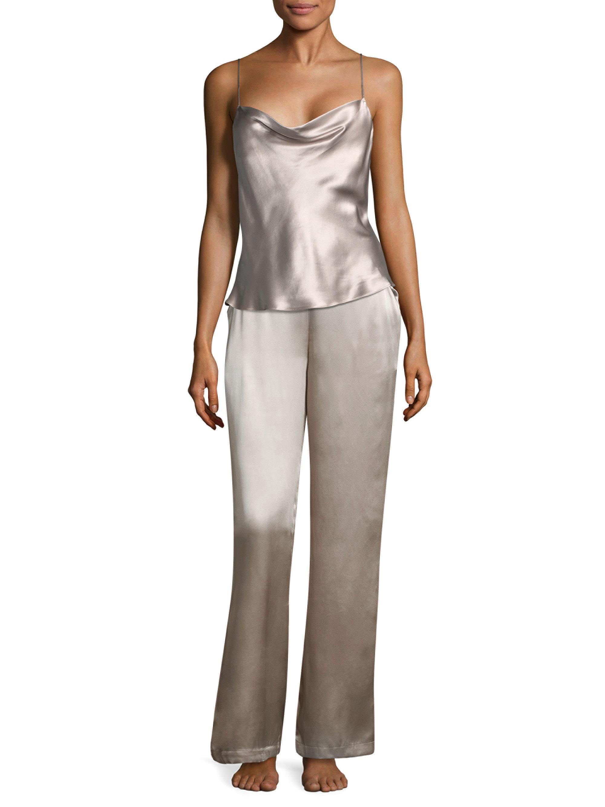 ffeb8e15c Fleur du Mal Women s Wide-leg Silk Pants - Champagne - Size Large - Lyst