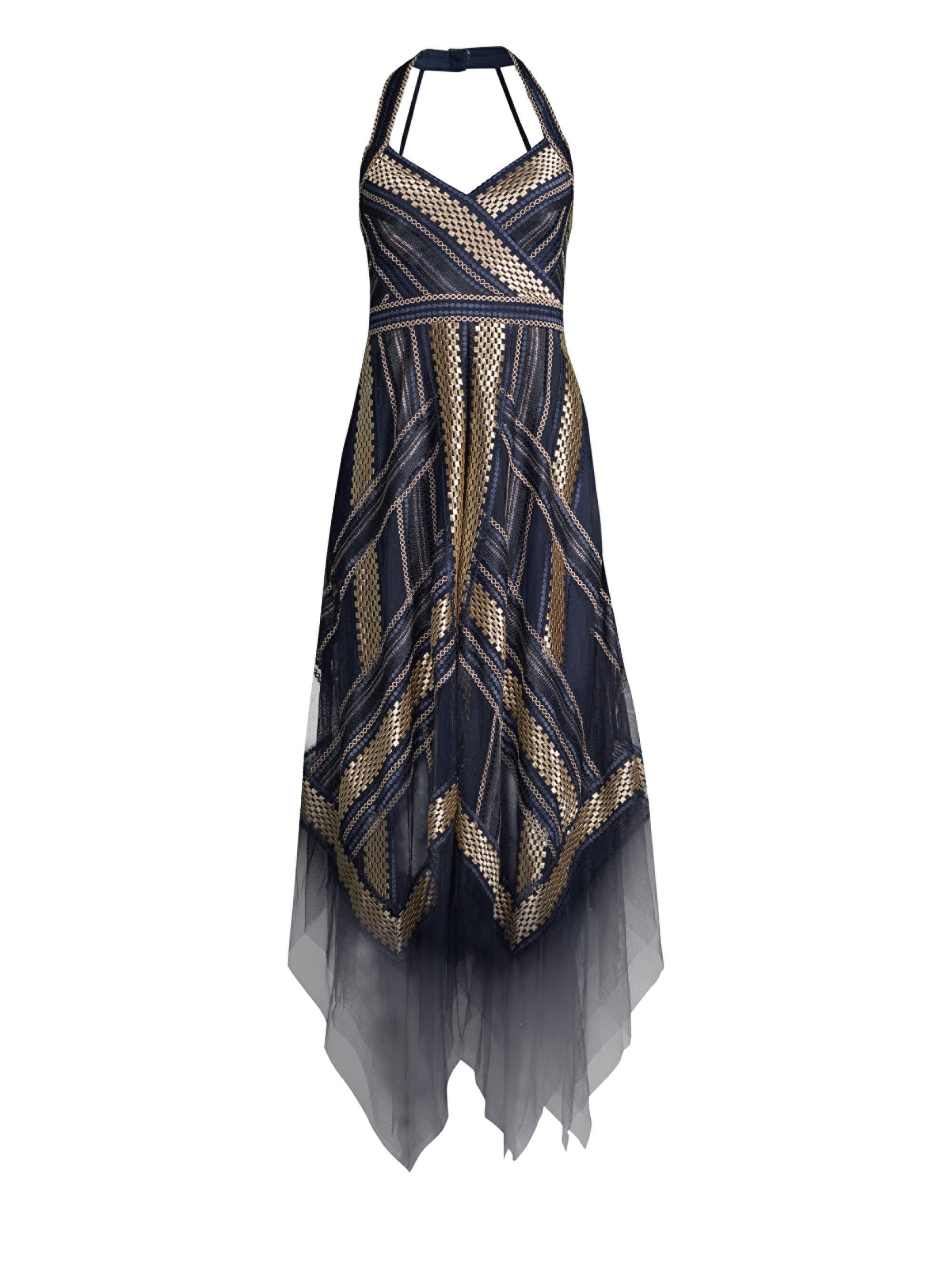 228a63787092 BCBGMAXAZRIA Women's Metallic Striped Handkerchief Dress - Navy ...