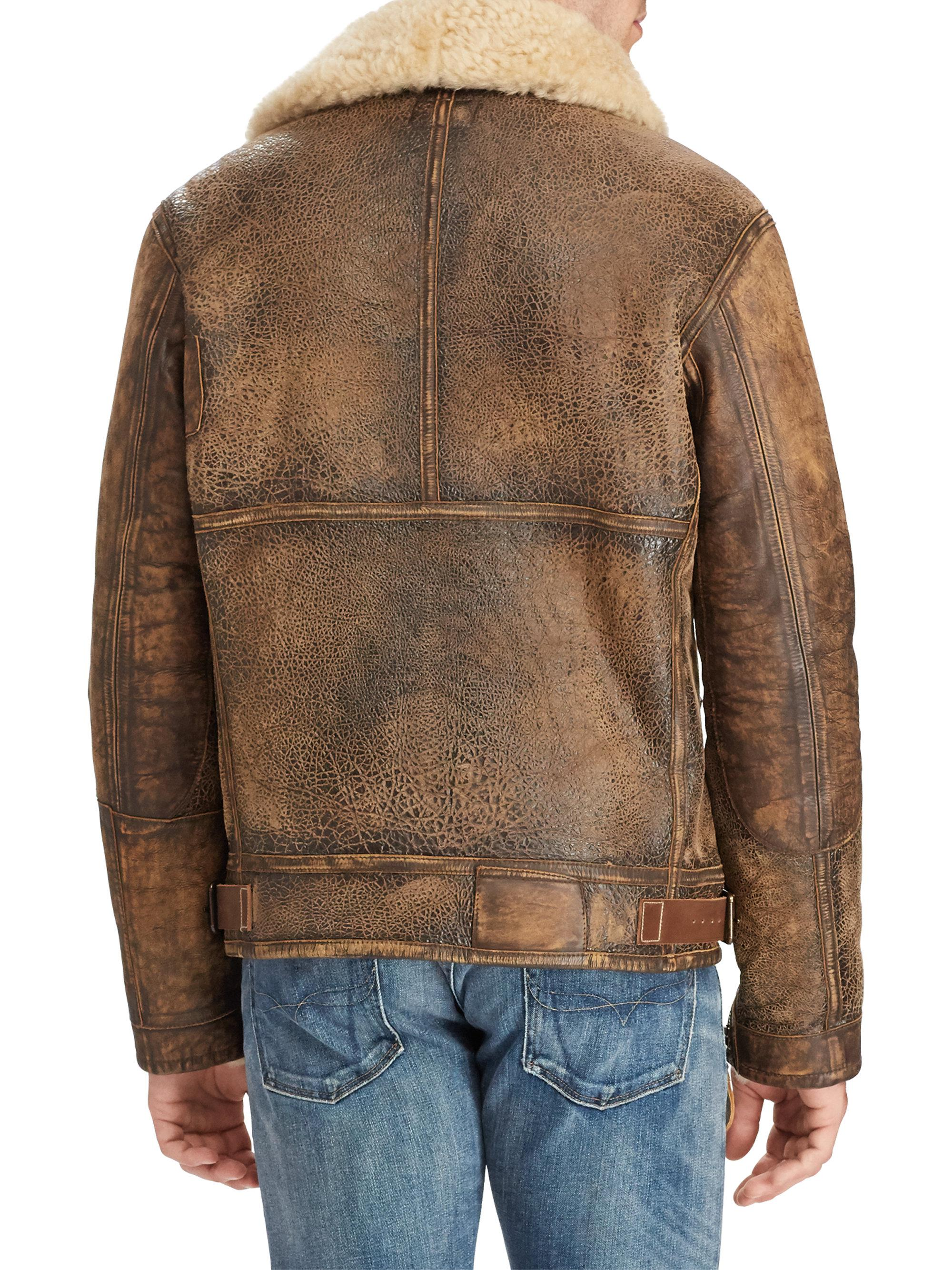 Lyst - Polo Ralph Lauren Shearling-trimmed Leather Bomber Jacket in ... 8a5859504c8cf