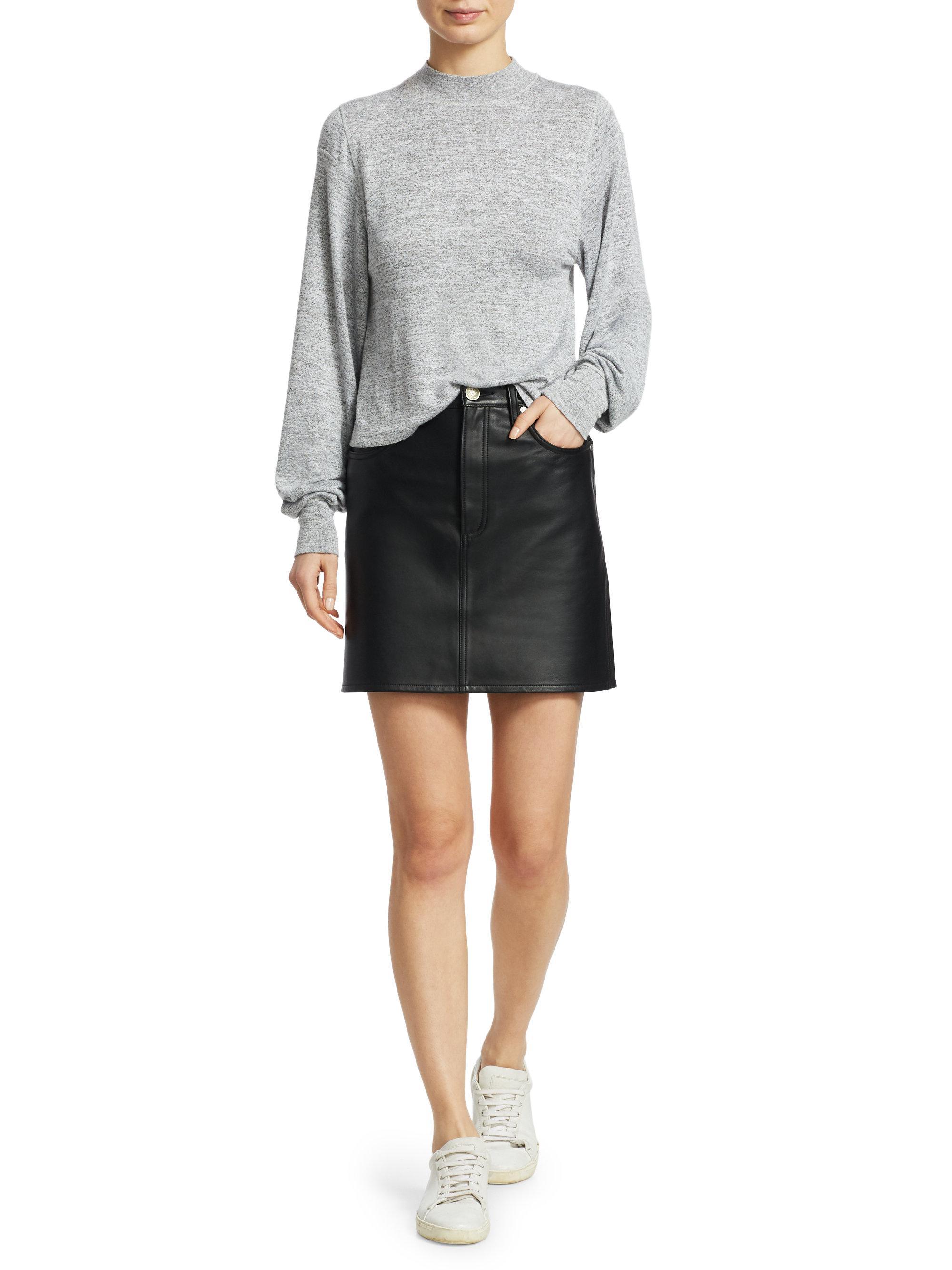 629195407 Rag & Bone Moss Leather Skirt in Black - Lyst