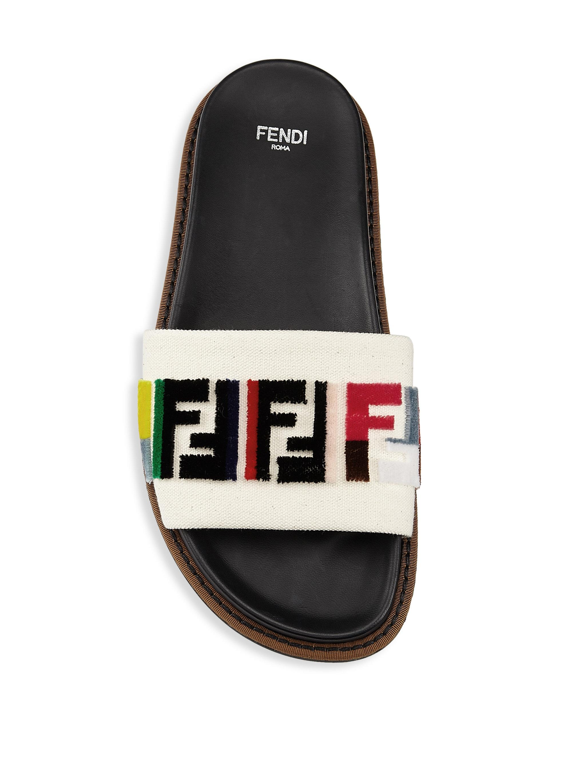 e6f3a5cf4e3d Fendi Fun Slides in Black - Lyst