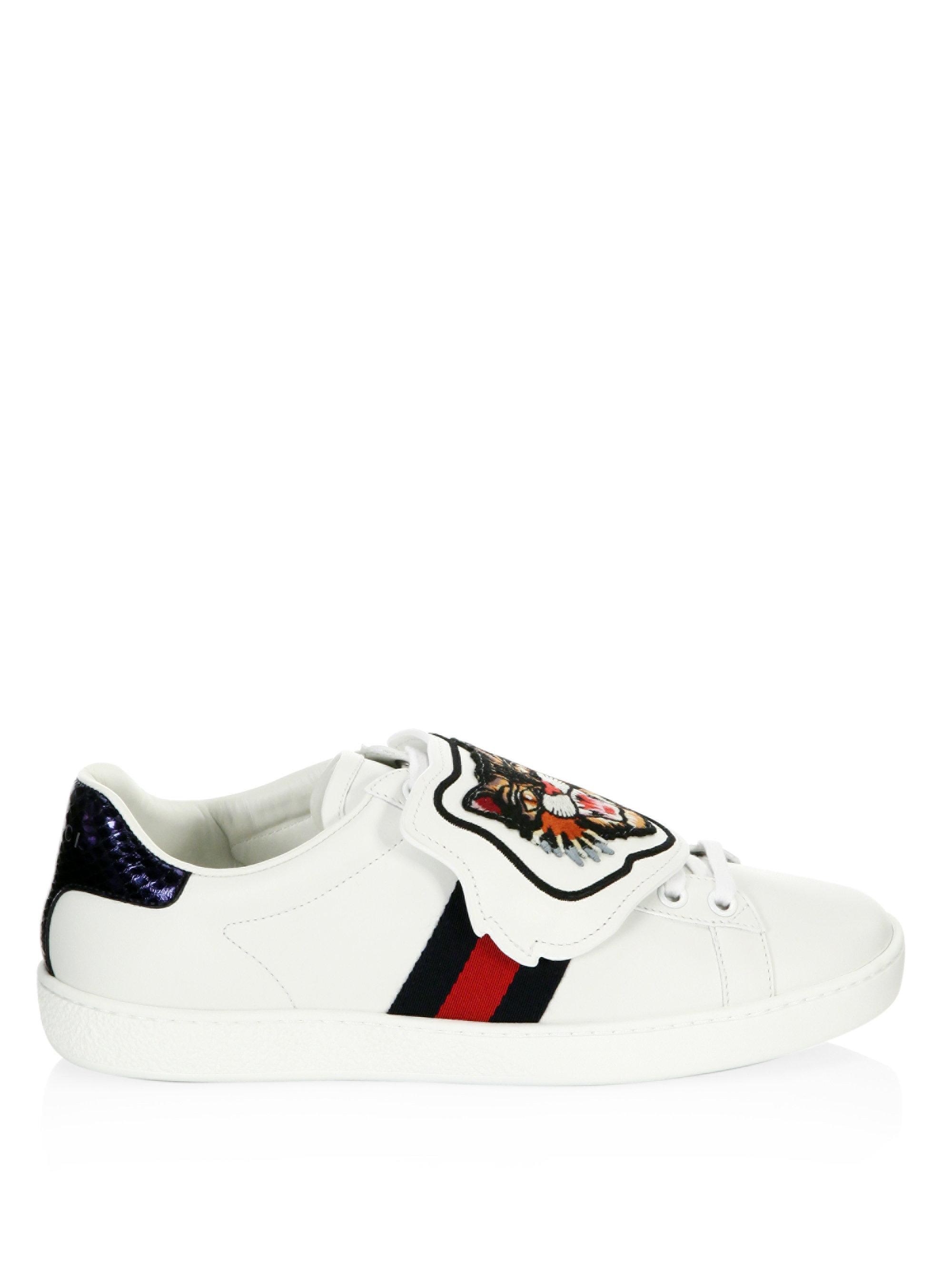 fdf8587aee6 Lyst - Gucci New Ace Lion Patch Sneakers in White