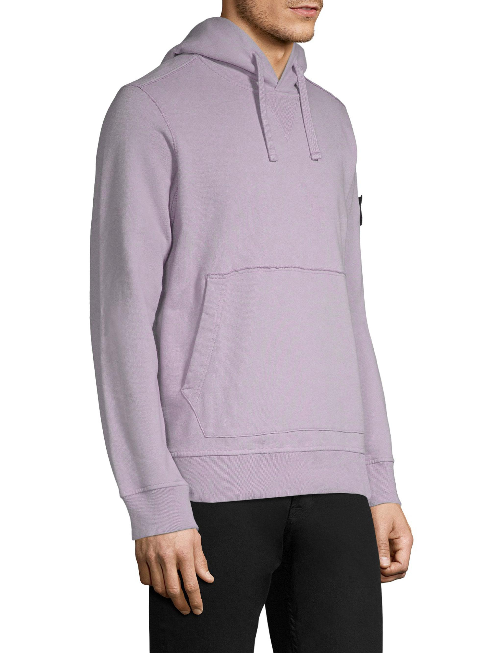 stone island pullover hoodie in purple for men lyst