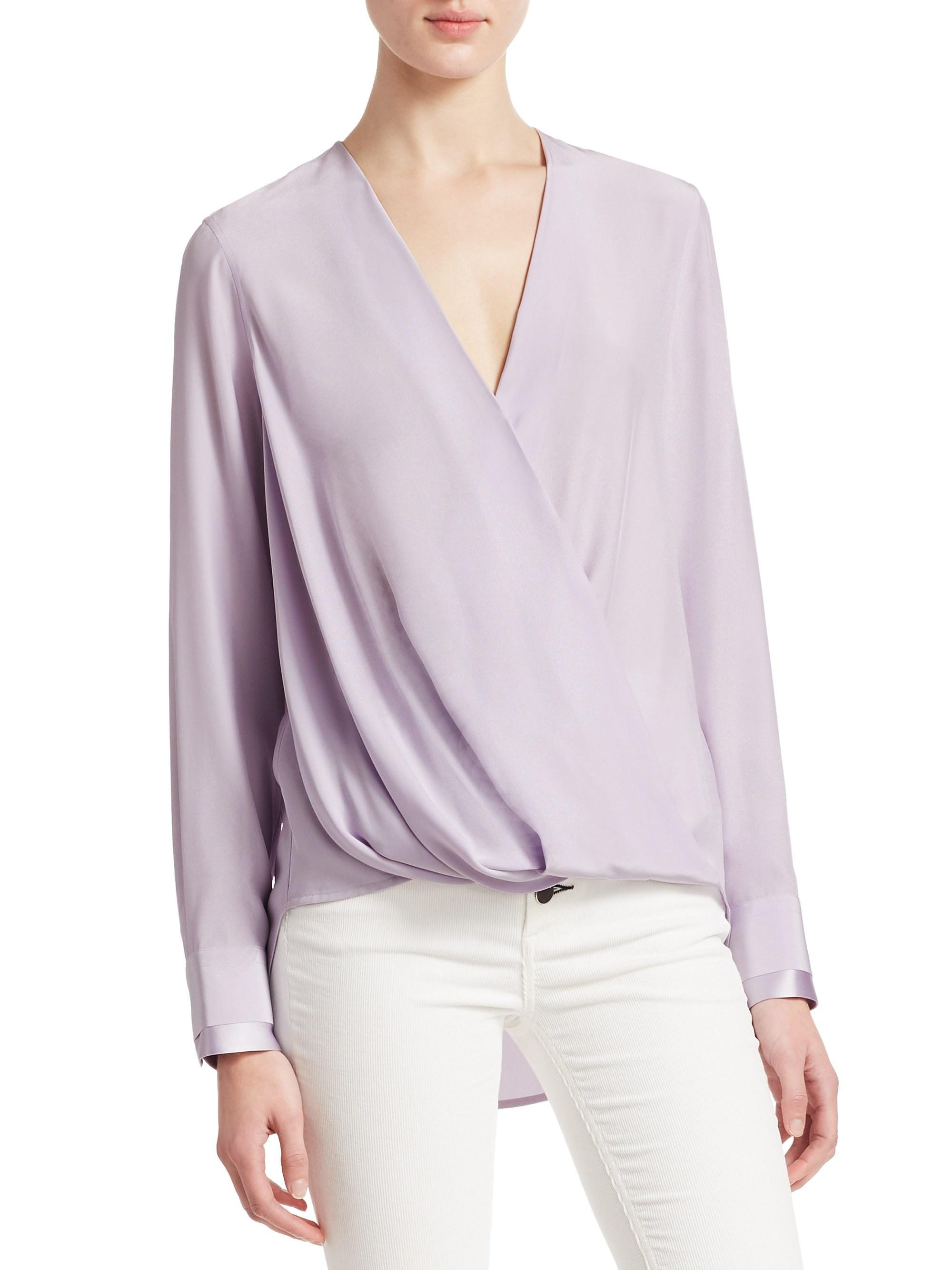 2162372f16fdd Lyst - Rag   Bone Victor Long-sleeve Drape-front Blouse in Purple ...