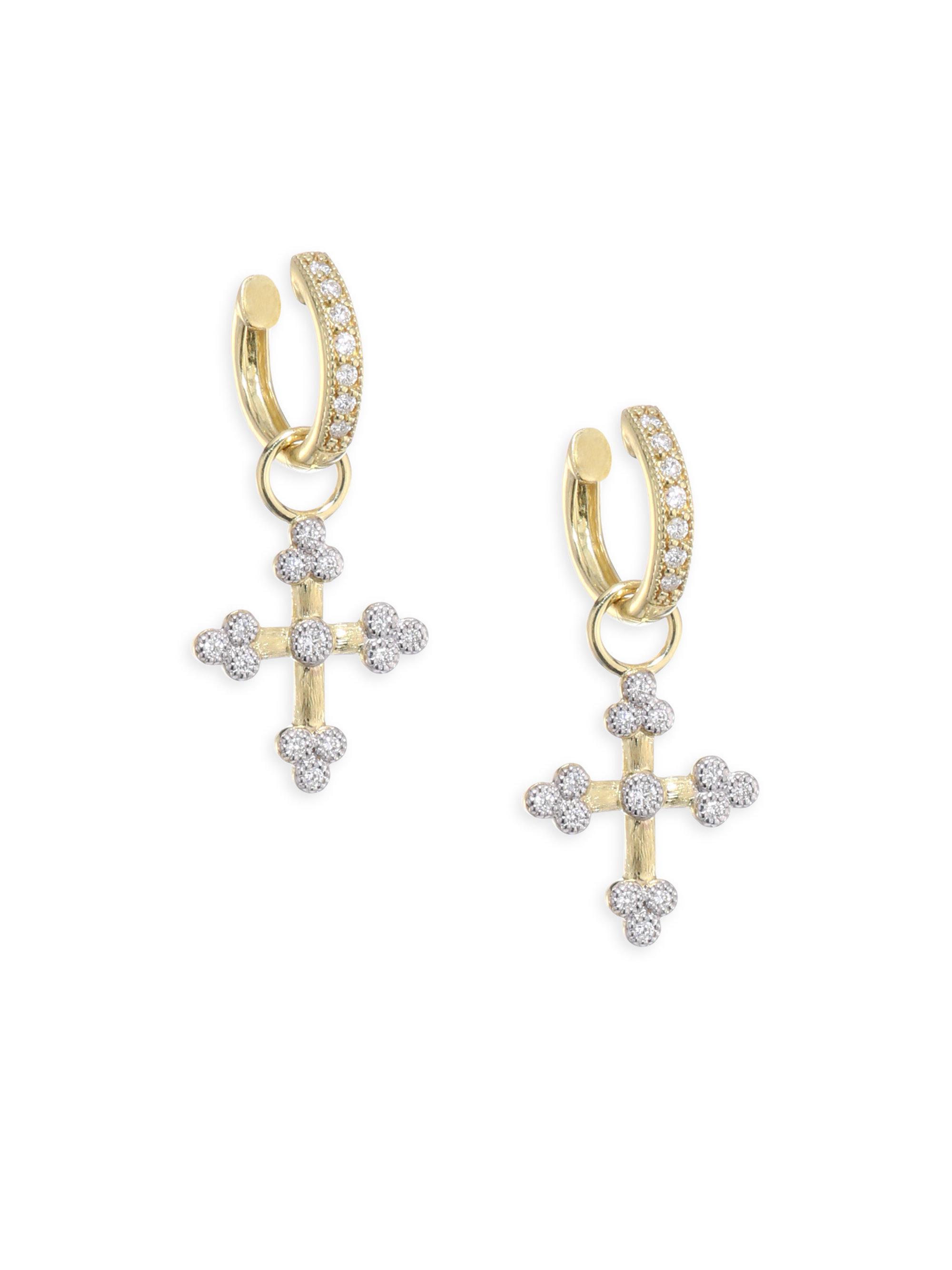 Jude Frances Women S Metallic Provence Tiny Diamond Cross Earring Charms