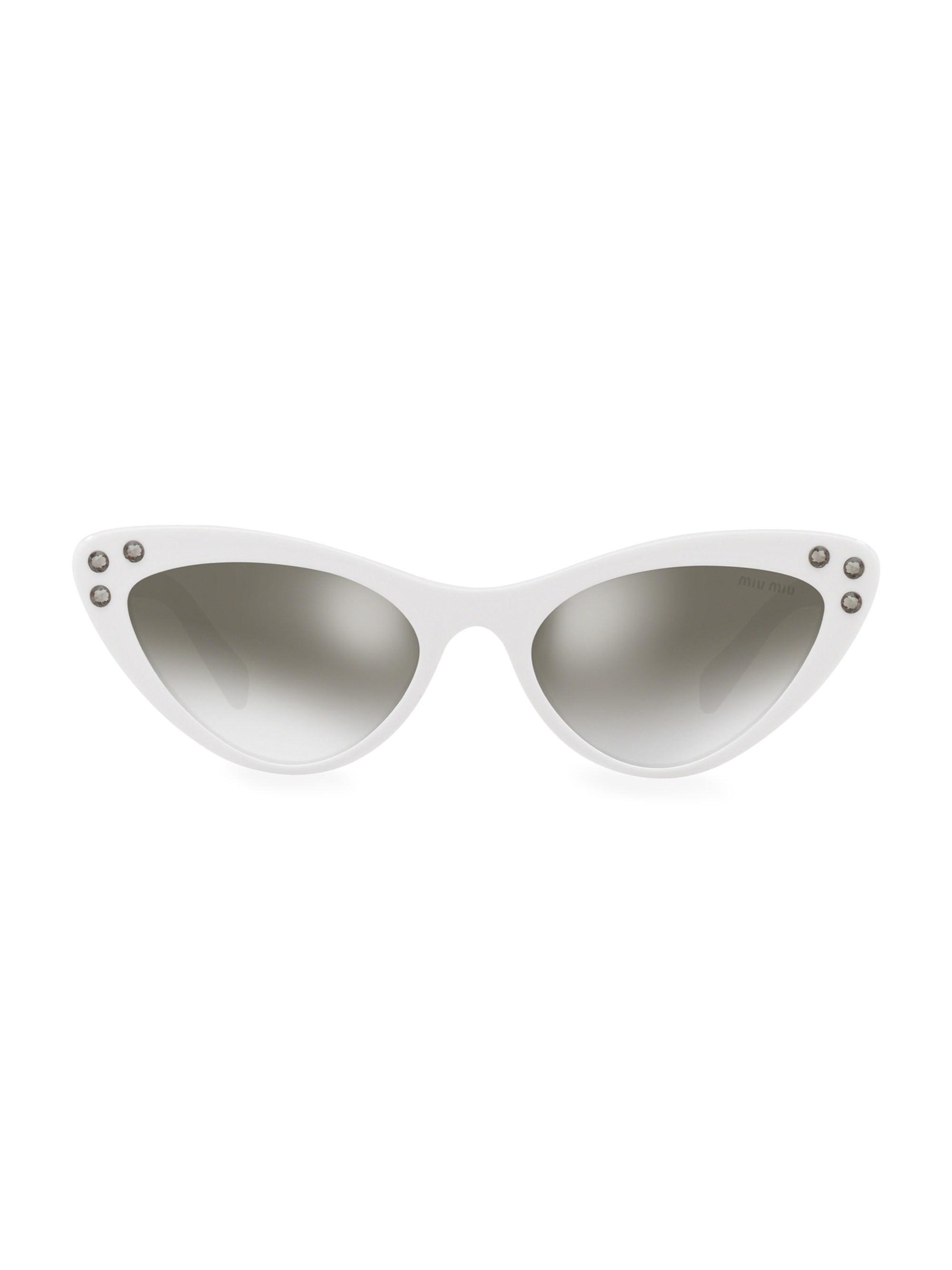 dd0682705708 Lyst - Miu Miu 55mm Crystal Studded Cat Eye Sunglasses - Save 50%