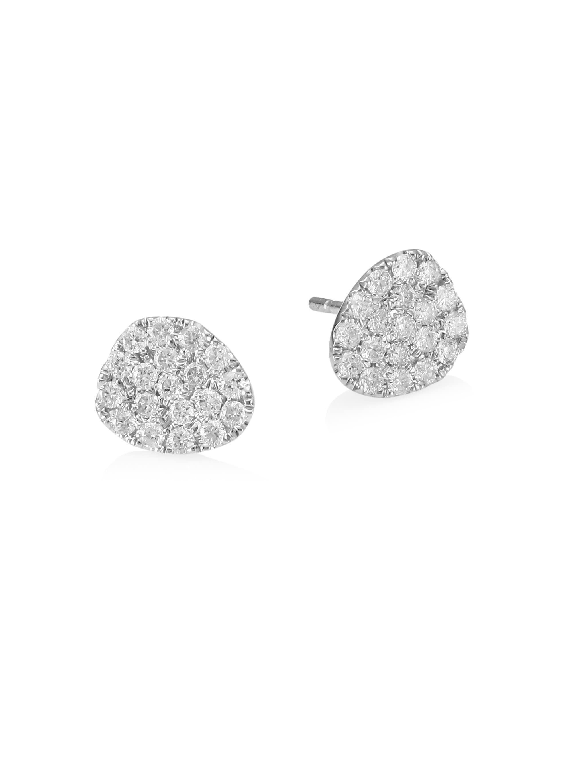Meira T Women S 14k White Gold Pavé Diamond Stud Earrings