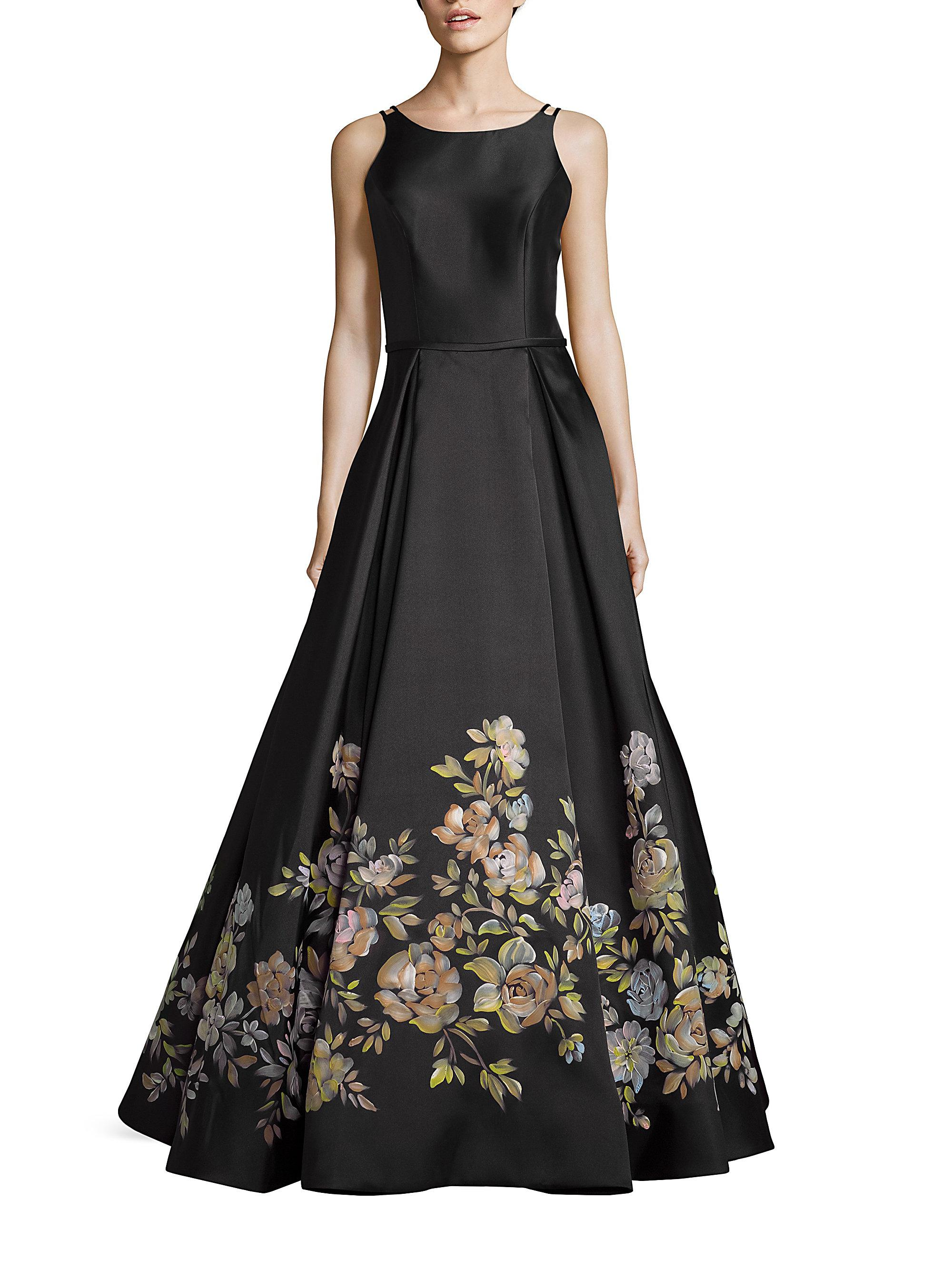 Basix Black Label Piped Lace Gown Black V neck and back cqy 76349