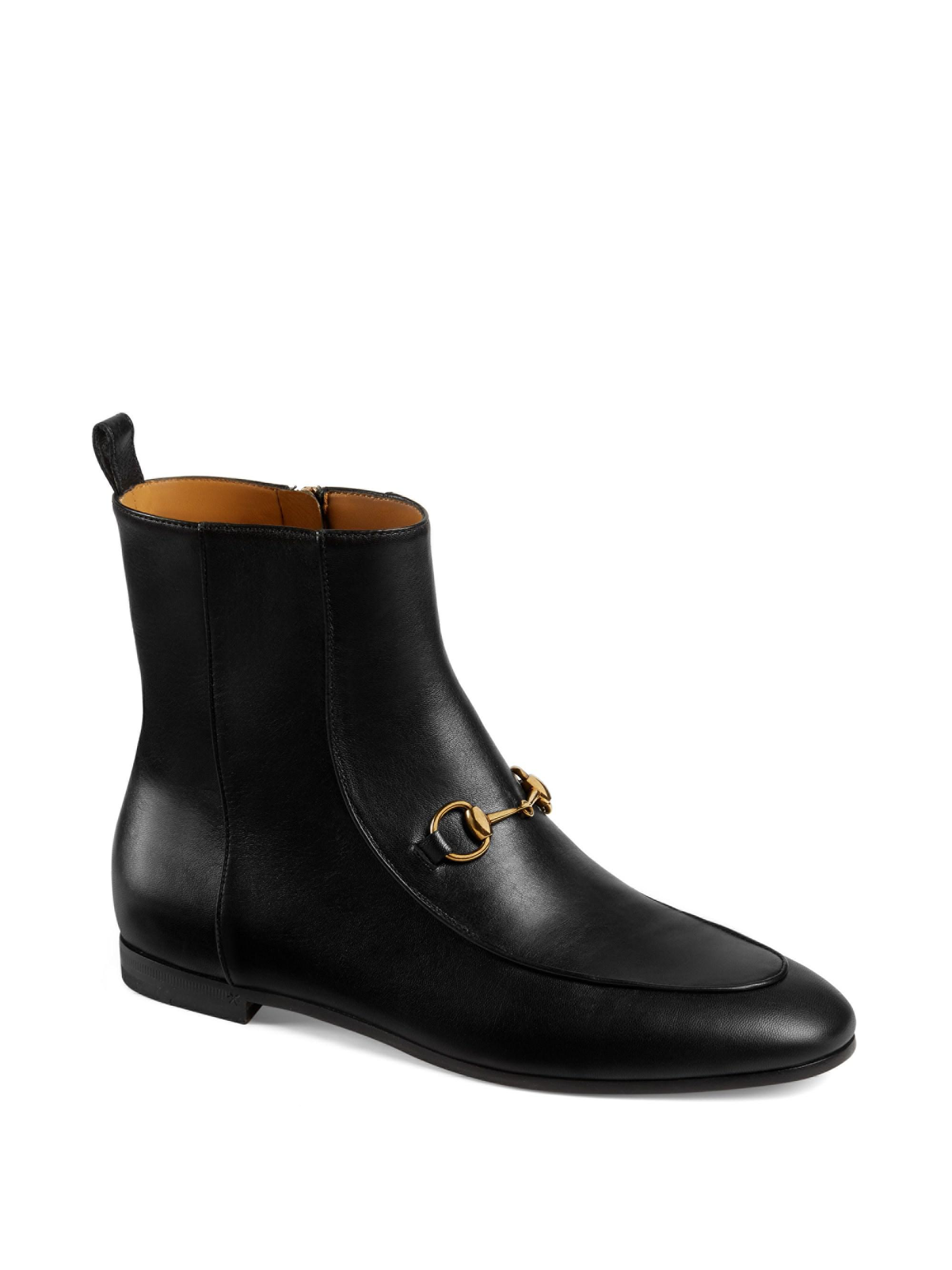 c0801782af0 Lyst - Gucci Jordaan Leather Ankle Boots in Black