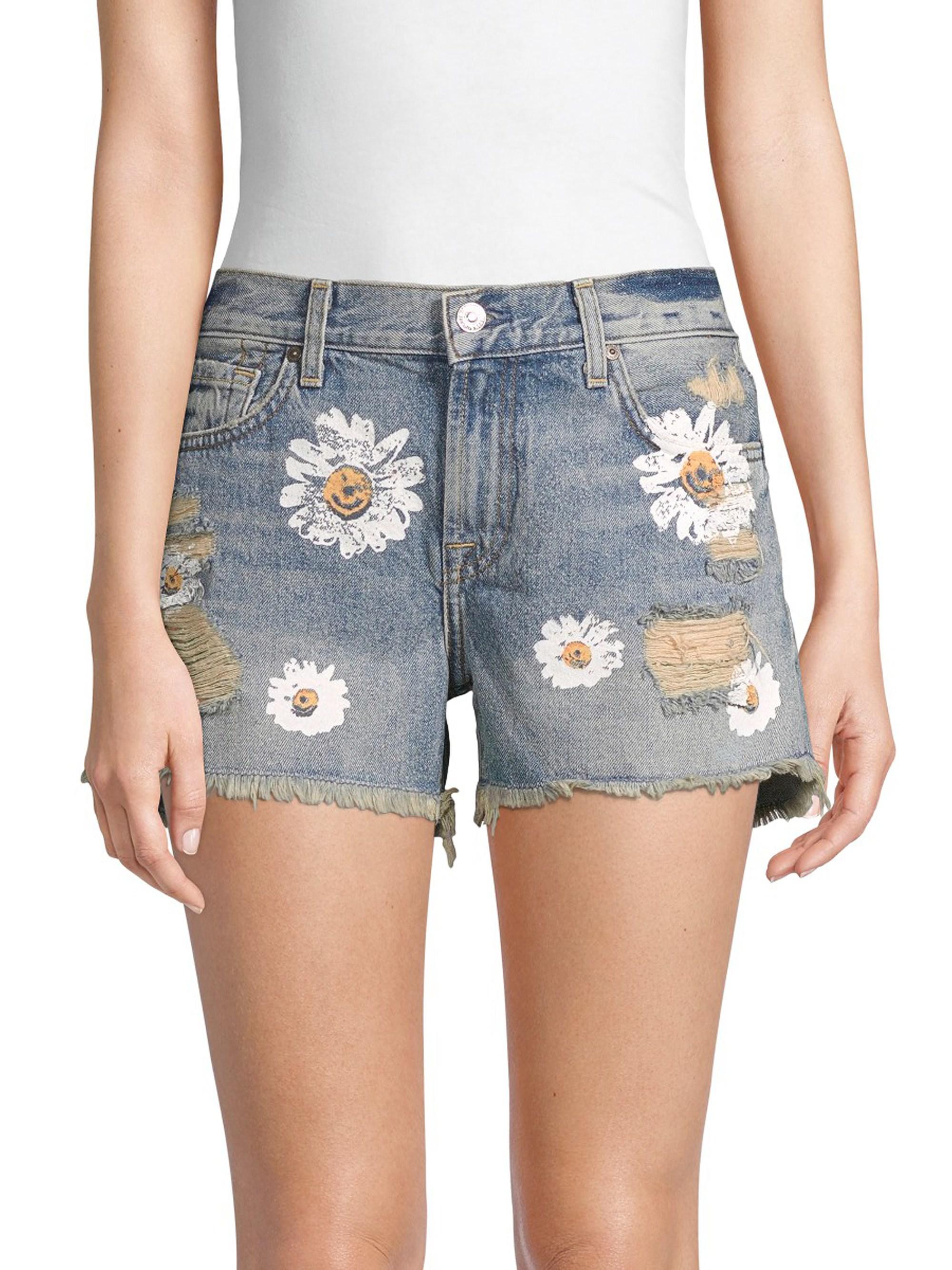 8d353dc5e337f 7 For All Mankind Cutoff Distressed Denim Shorts in Blue - Lyst