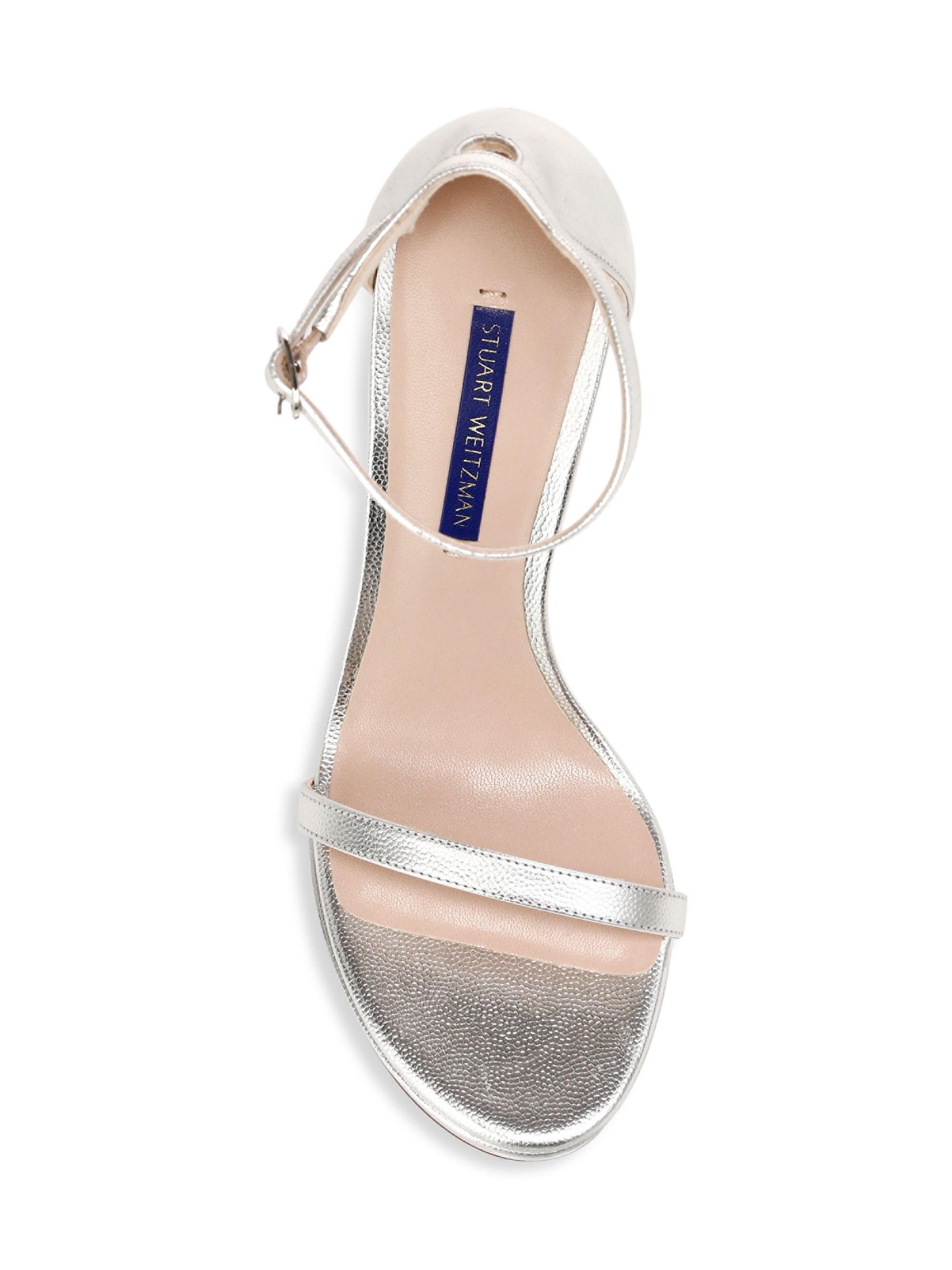 cb0a10dda Stuart Weitzman - Women s Nudist Metallic Platform Sandals - Silver - Lyst.  View fullscreen