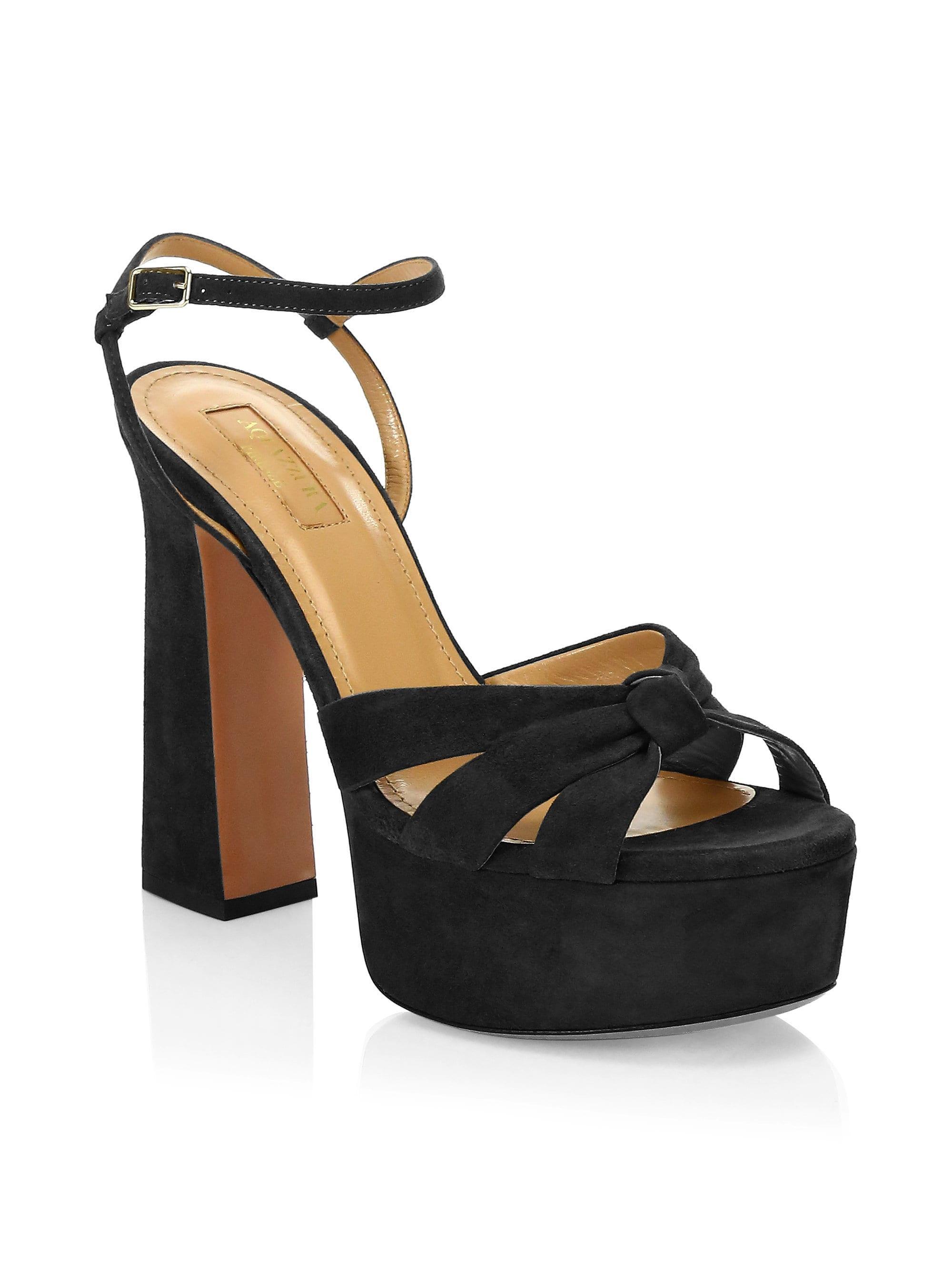 44aba83eff Aquazzura - Women's Baba Suede Platform Sandals - Black - Size 41 (11) -.  View fullscreen