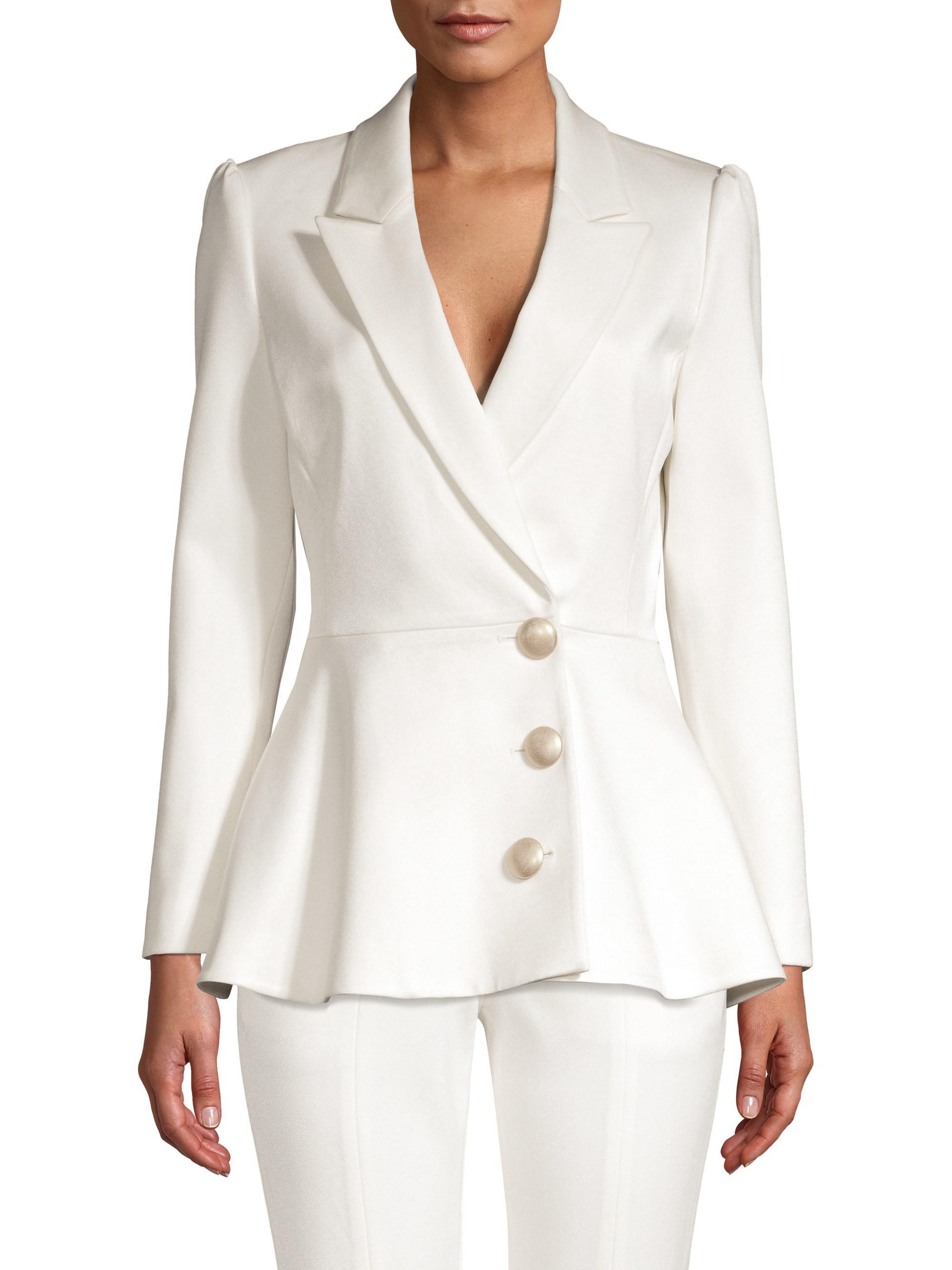 2157f354eadd Misha Collection Novalee Peplum Blazer in White - Lyst