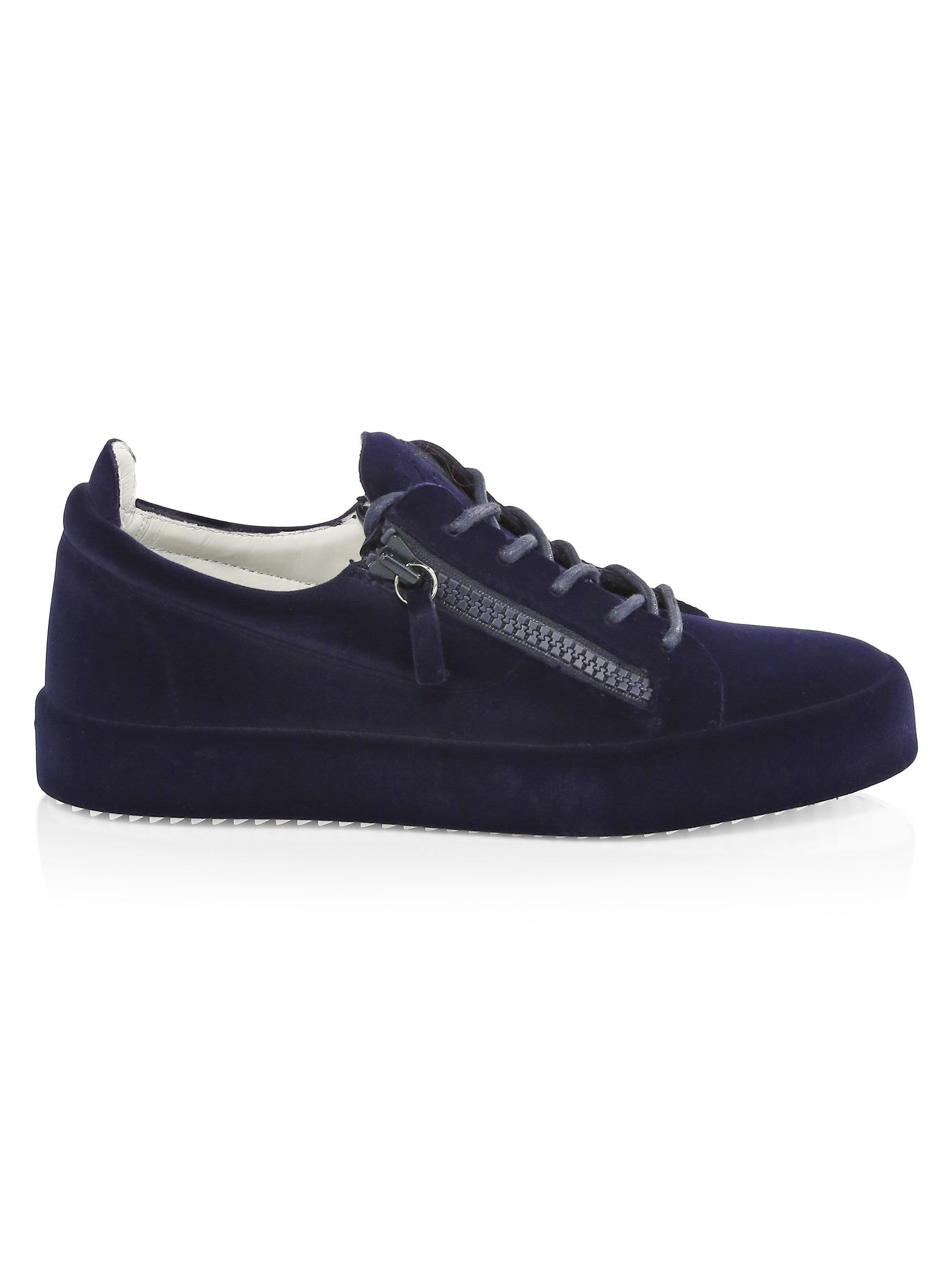 64bd9c24eb558 Giuseppe Zanotti Men's Velvet Flocking Double Zip Sneakers - Smuggy ...
