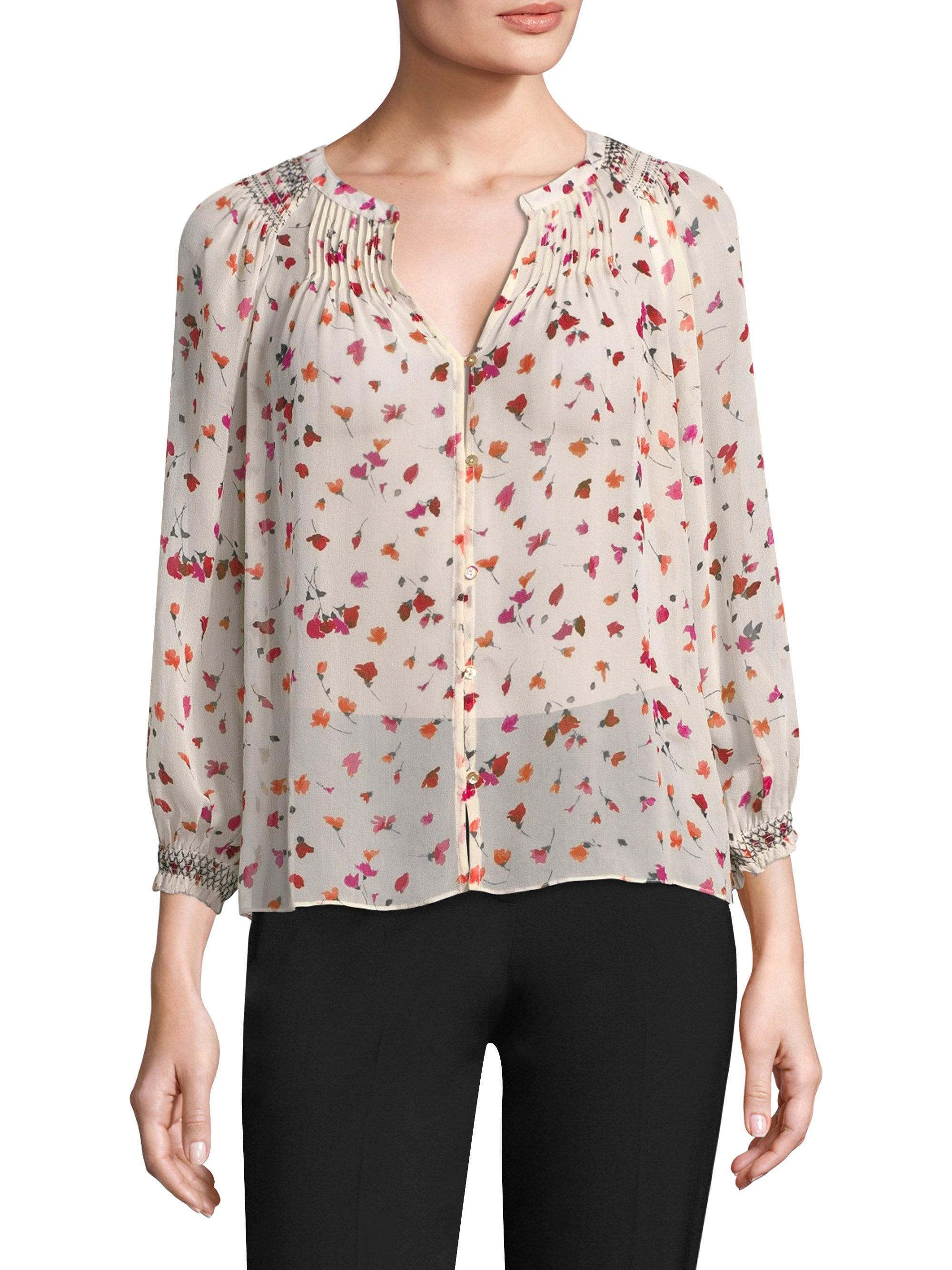 b009cd02f6511d Lyst - Joie Gontilda Fiesta Floral Silk Blouse in Pink