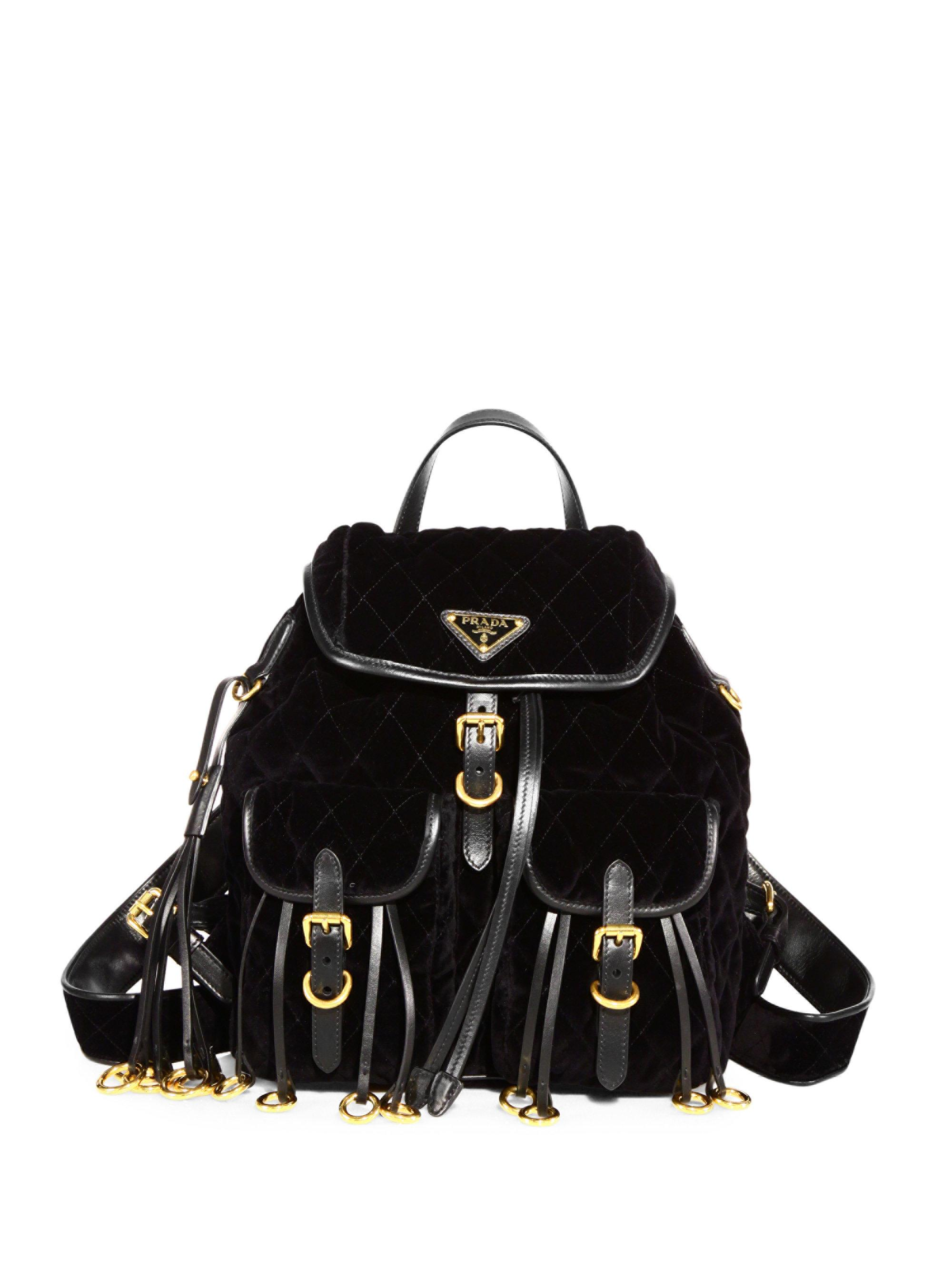 9560b1dc36f2 Lyst - Prada Quilted Velvet Mini Backpack in Black