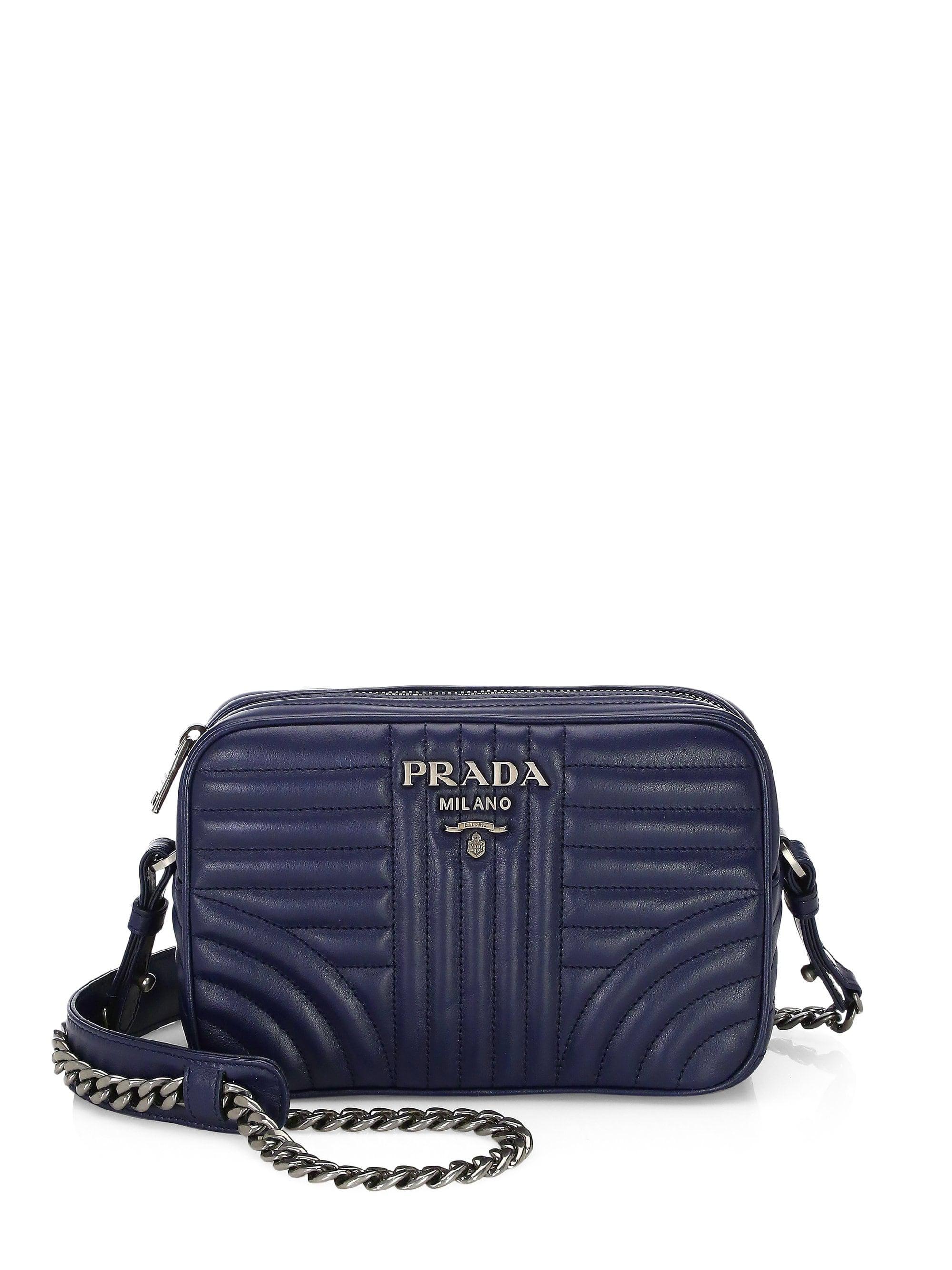 43768eaf9679 ... clearance lyst prada diagramme leather camera bag in blue 54a25 607a2